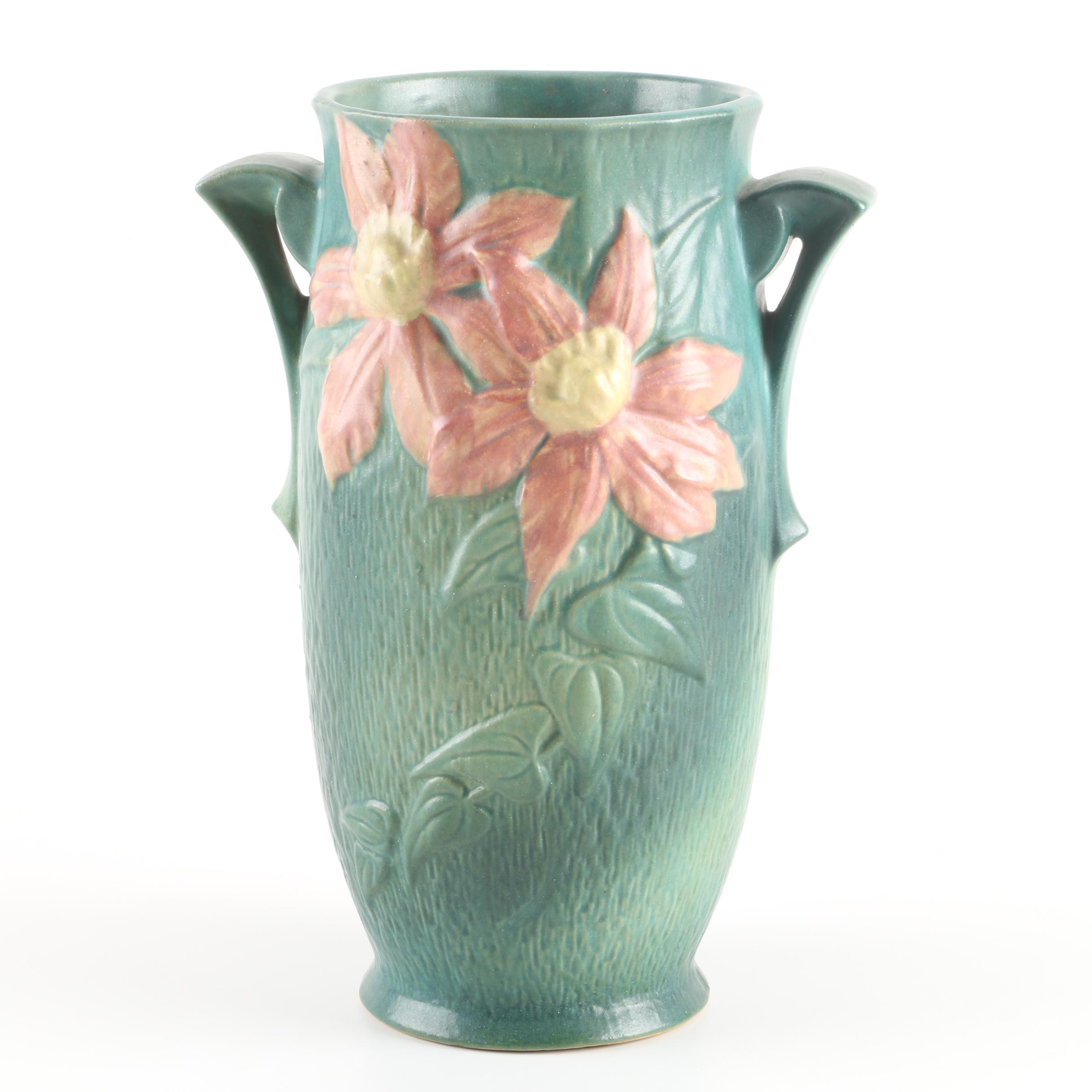 """Vintage Roseville """"Clematis"""" Ceramic Vase"""