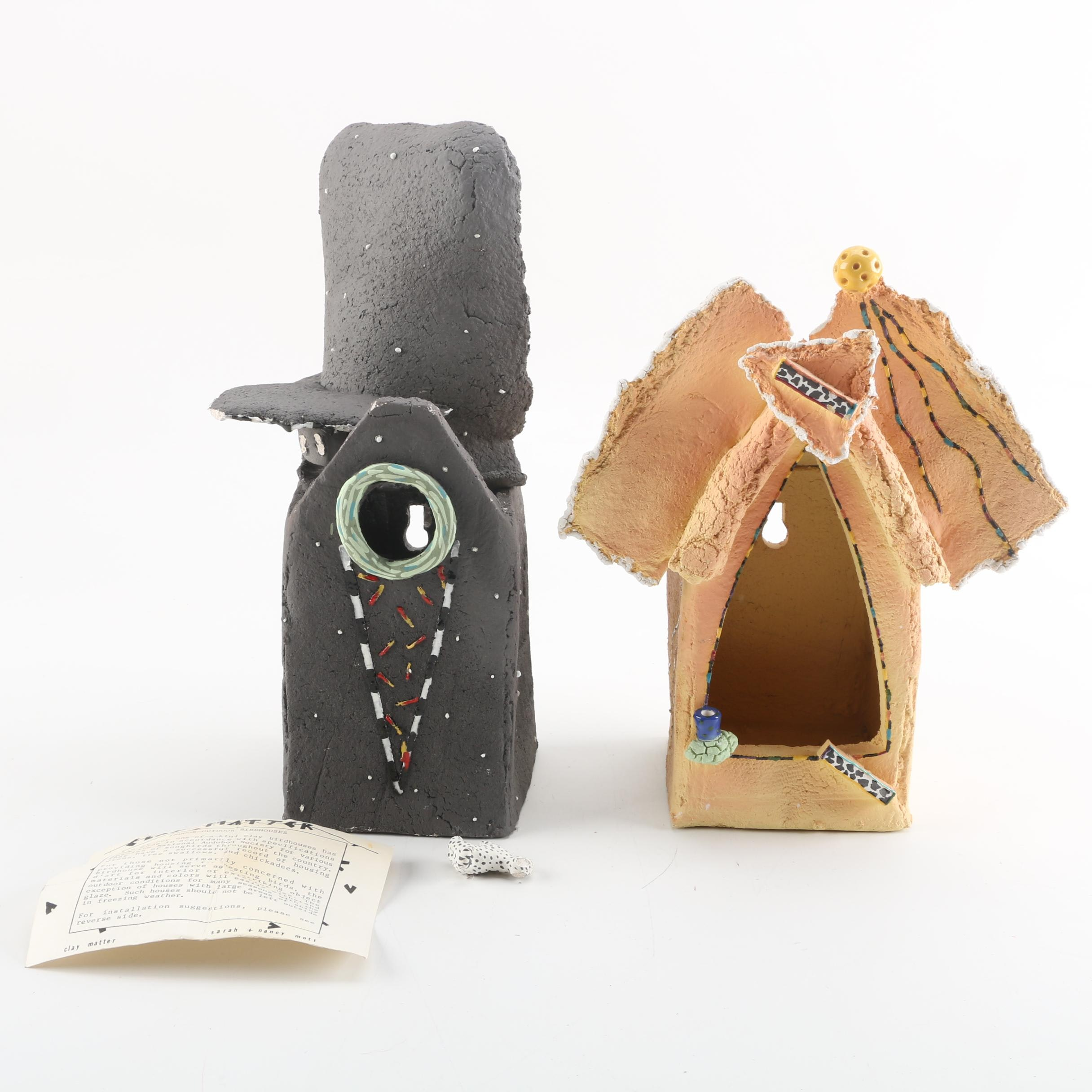 Handmade Clay Birdhouses by Sarah and Nancy Mott