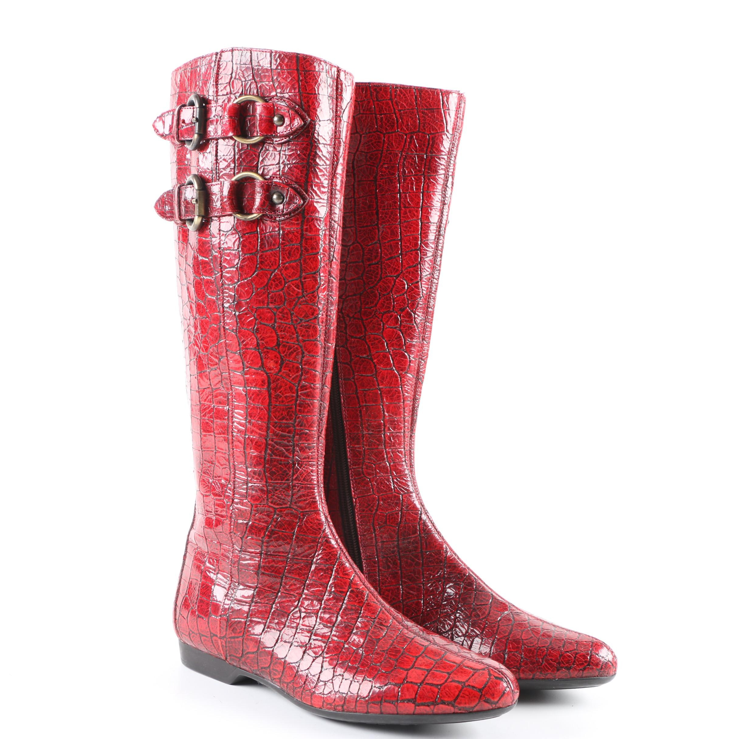 Women's Donald J. Pliner Alligator Embossed Red Leather Boots