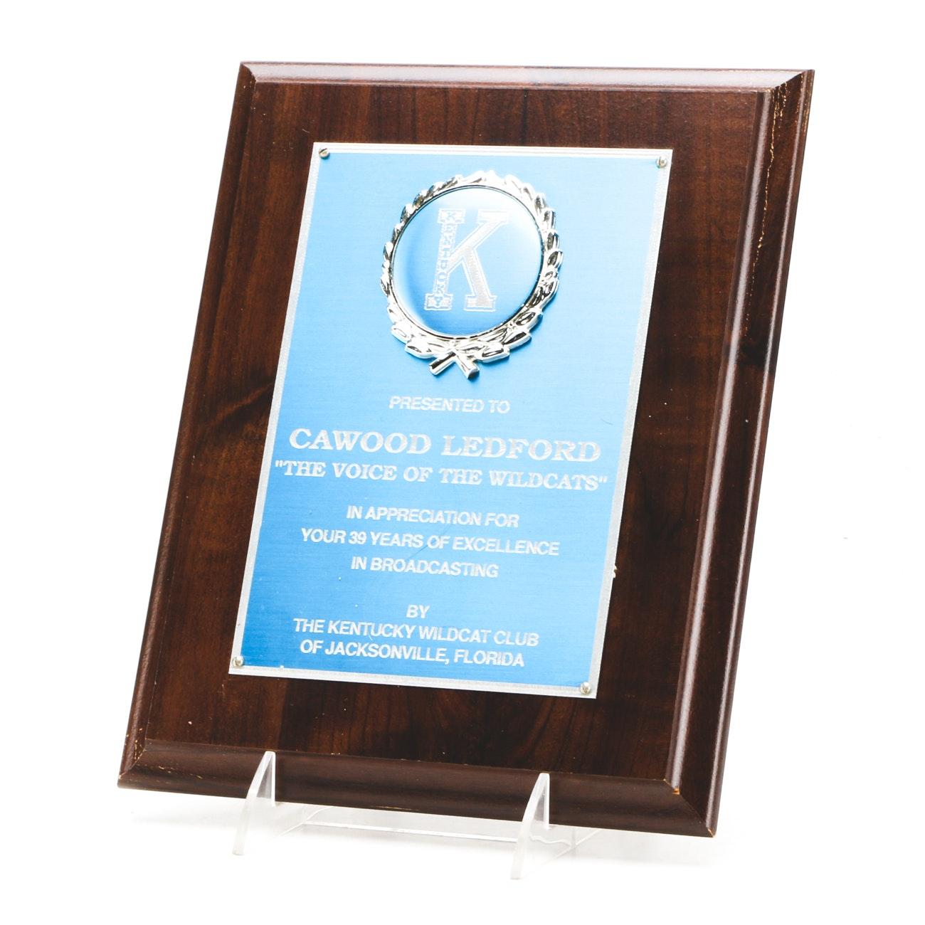 Cawood Ledford University of Kentucky Presentation Plaque Trophy