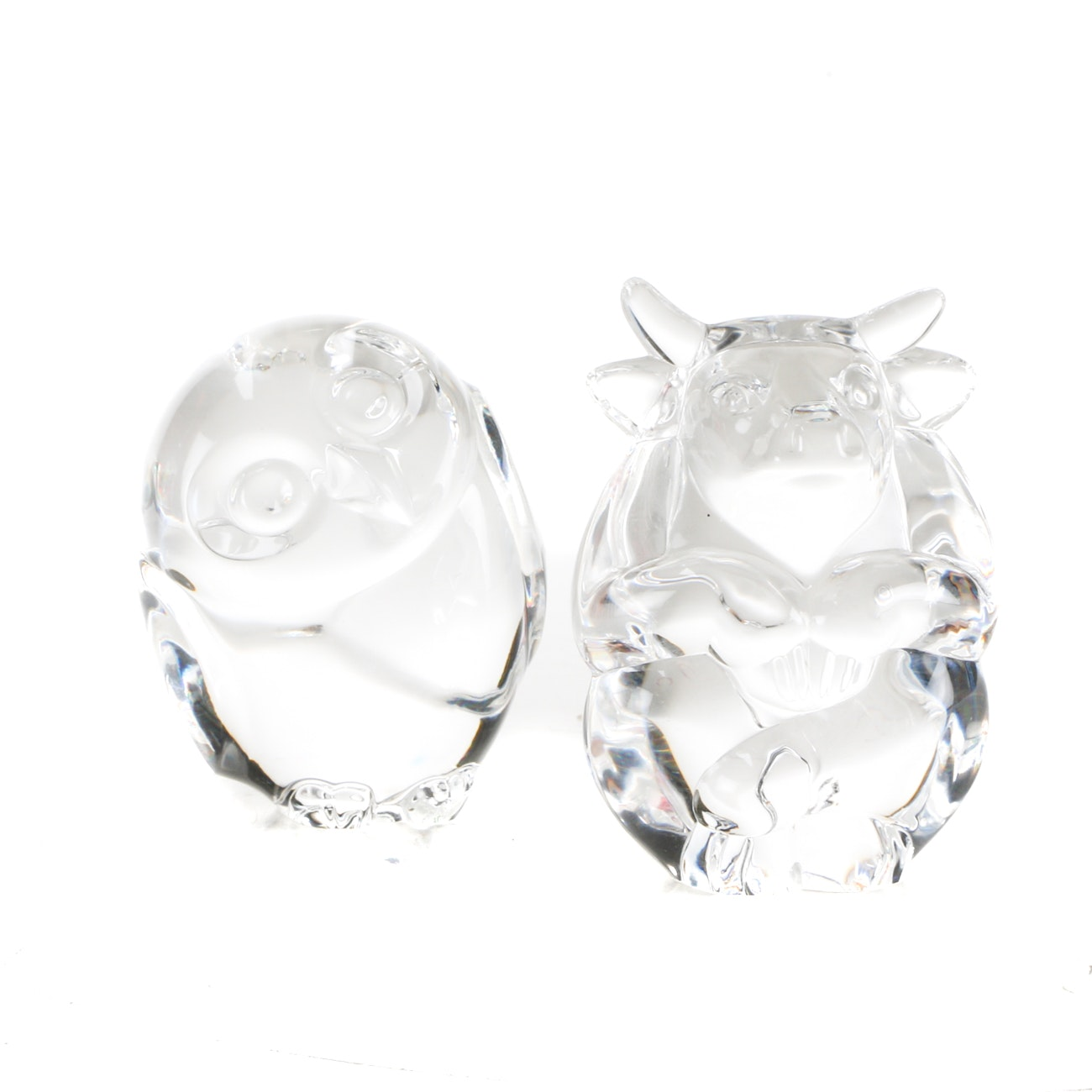 Steuben Glass Bull and Owl Hand Coolers