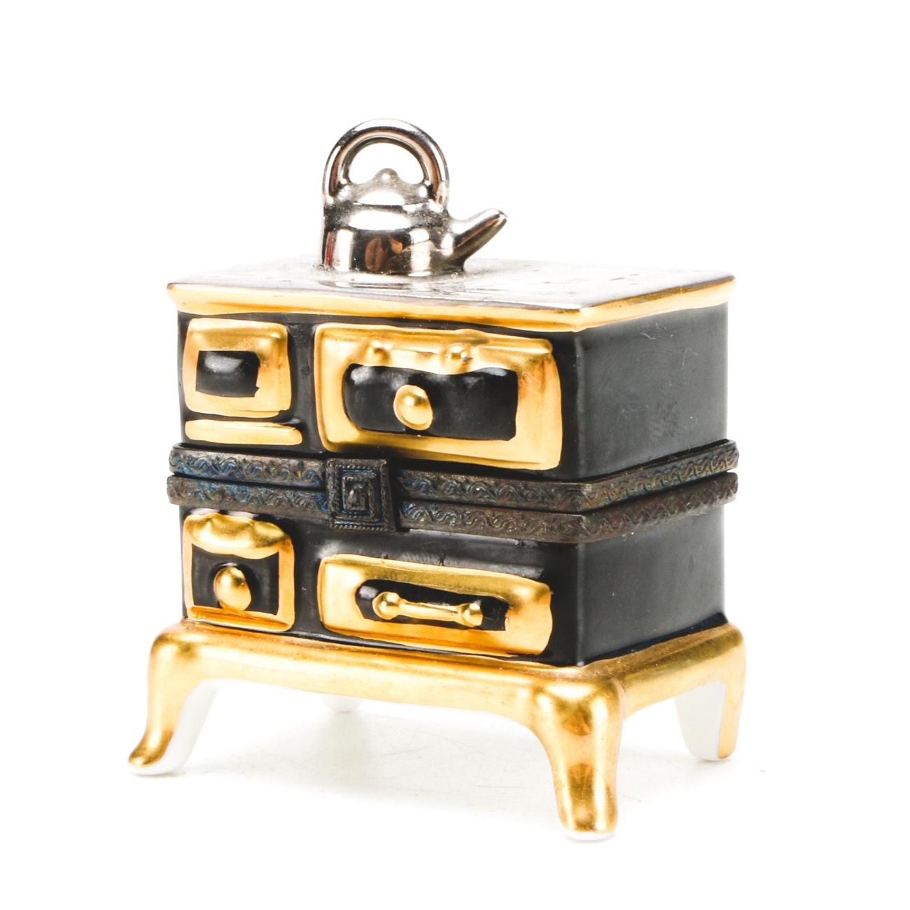 Vintage Limoges Porcelain Old Fashioned Stove Trinket Box