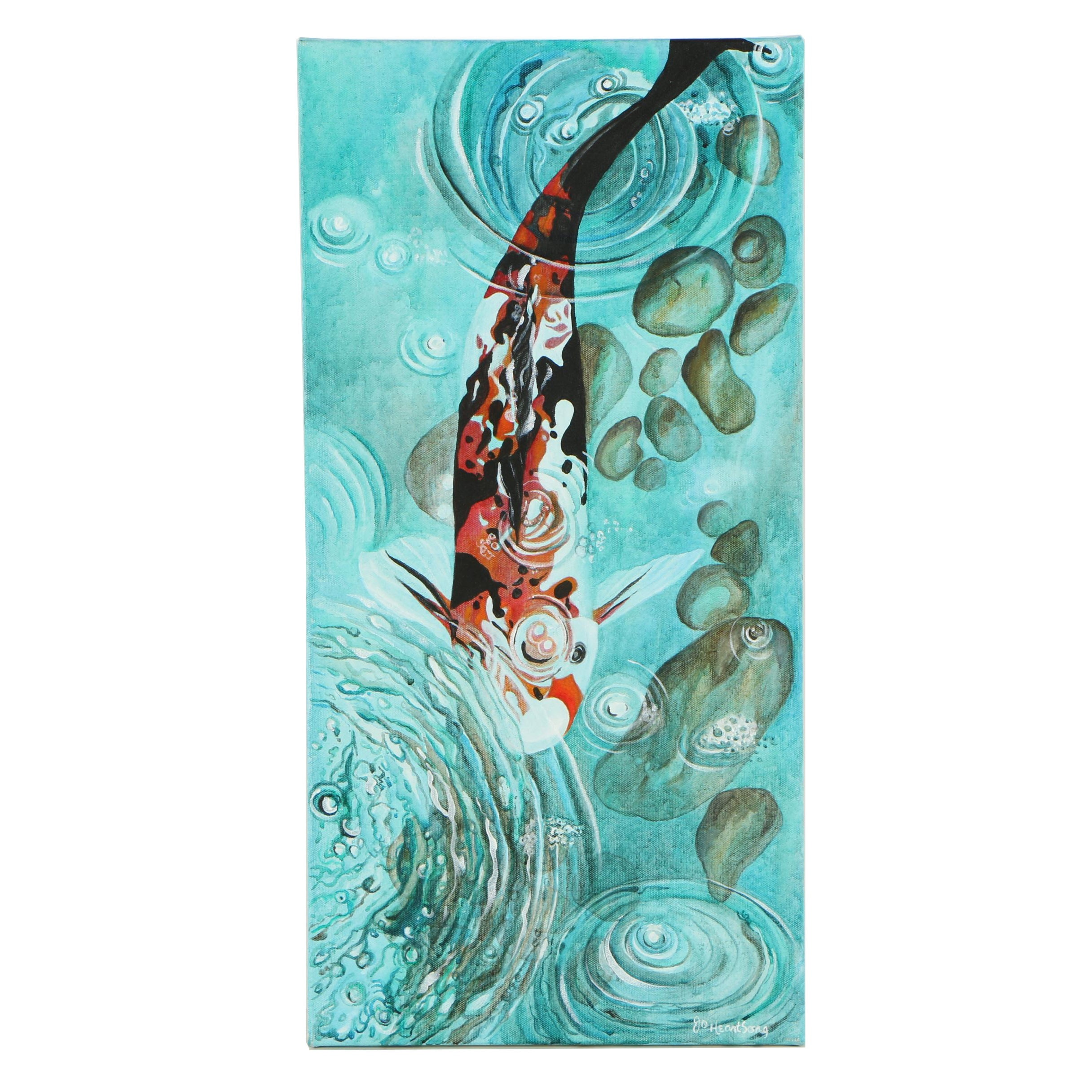 """Judith Olivia Heartsong Acrylic Painting """"Koi"""""""