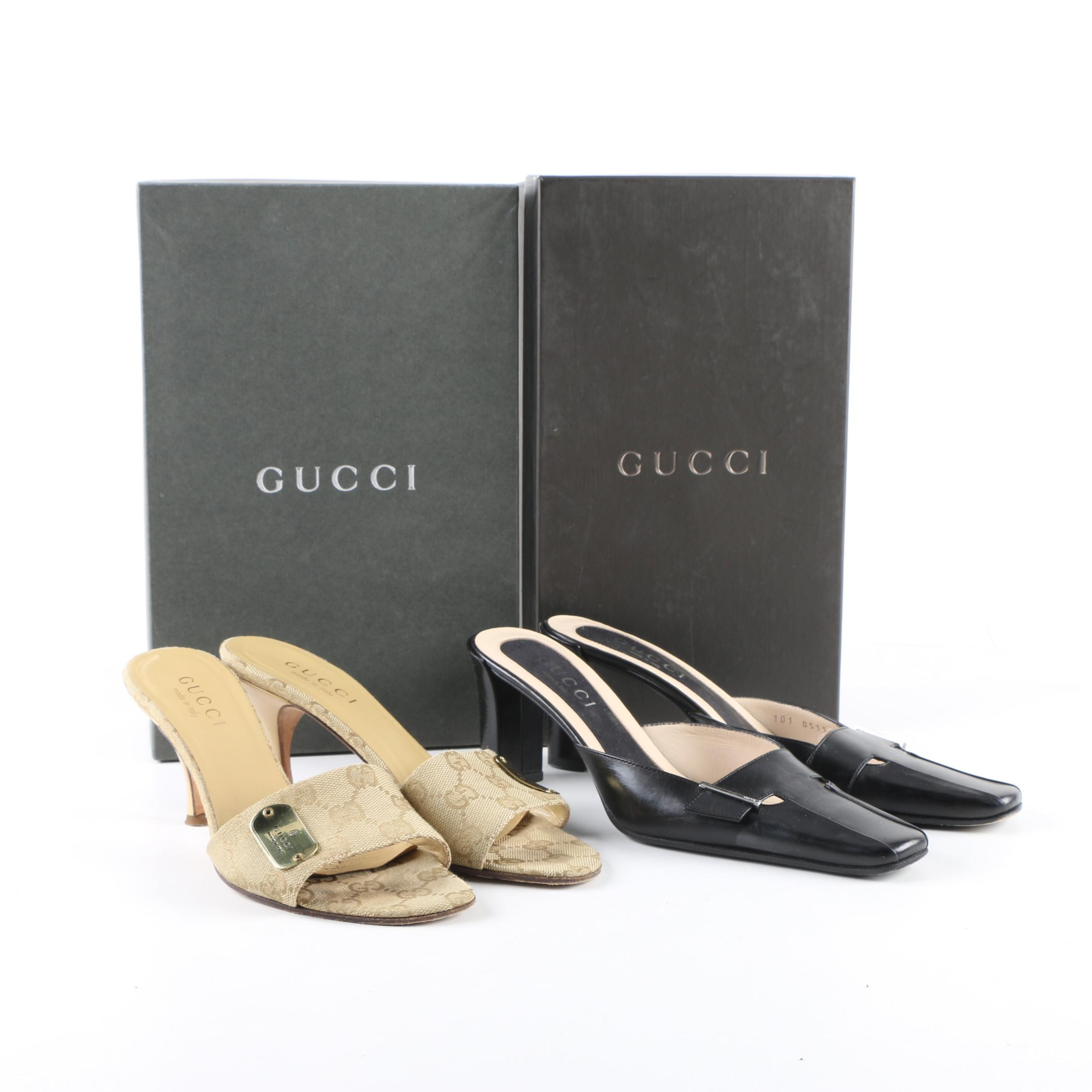 Women's Gucci Black Leather Mules and Beige Canvas Slides