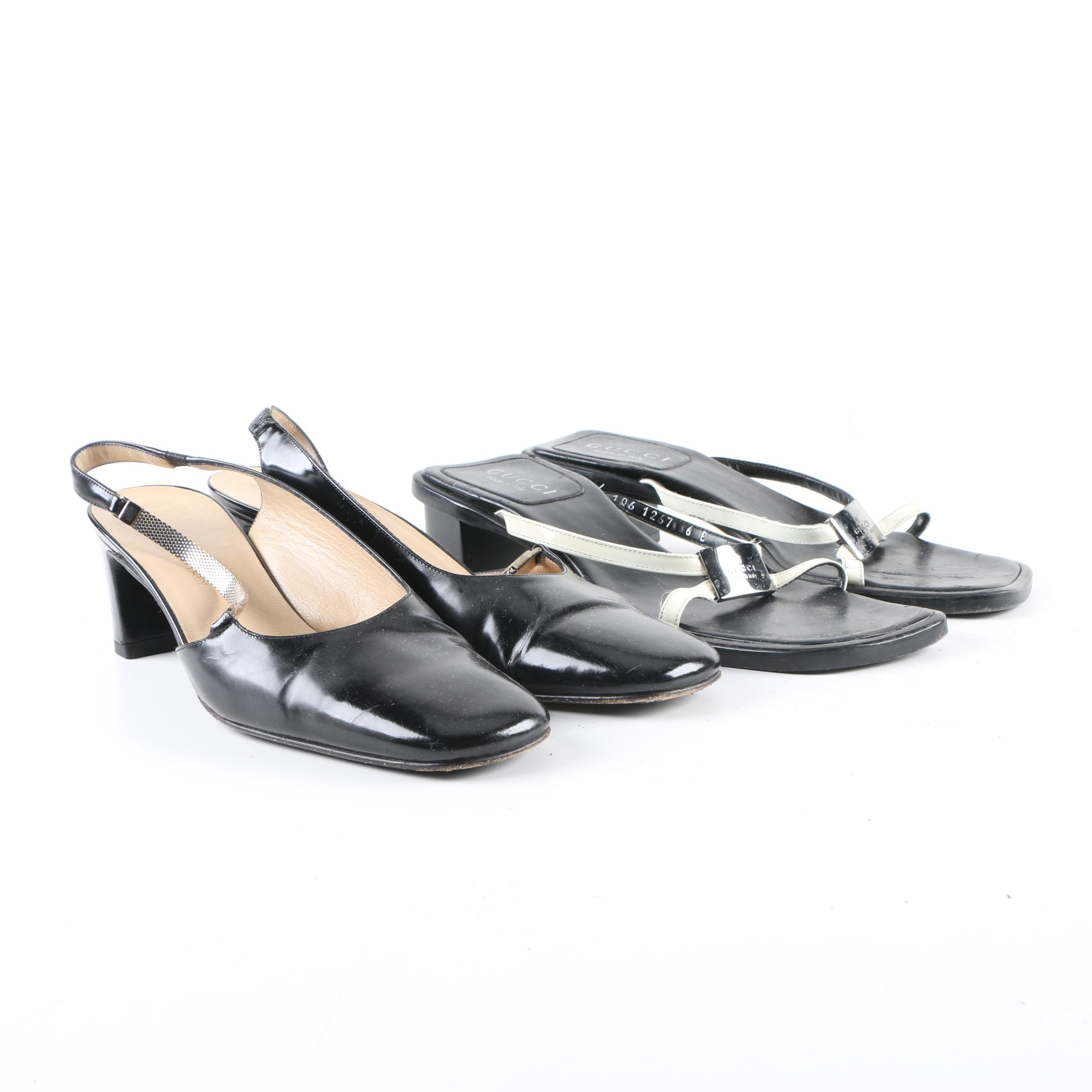 Women's Gucci Black Leather High-Heeled Slingback Mules and Sandals