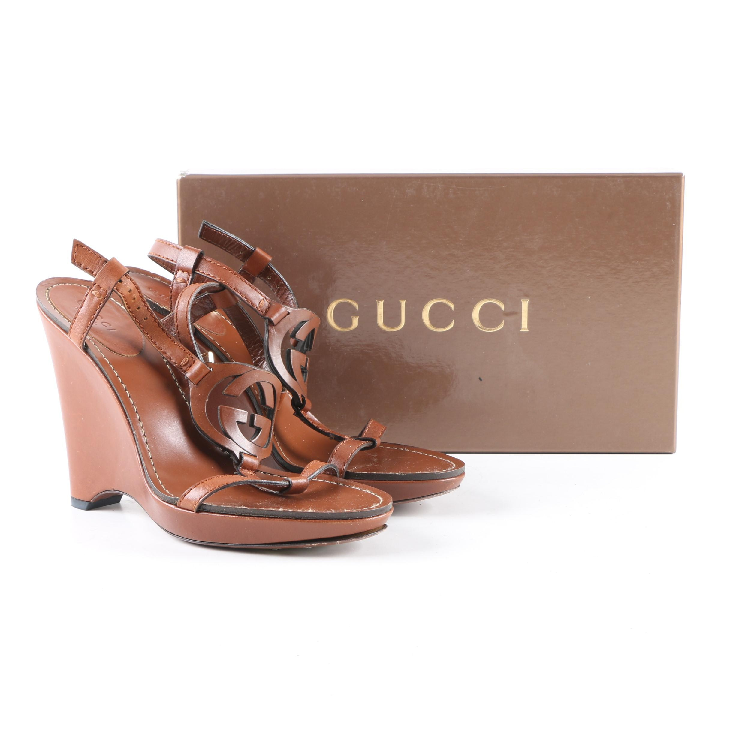 Women's Gucci Brown Leather Wedge Sandals