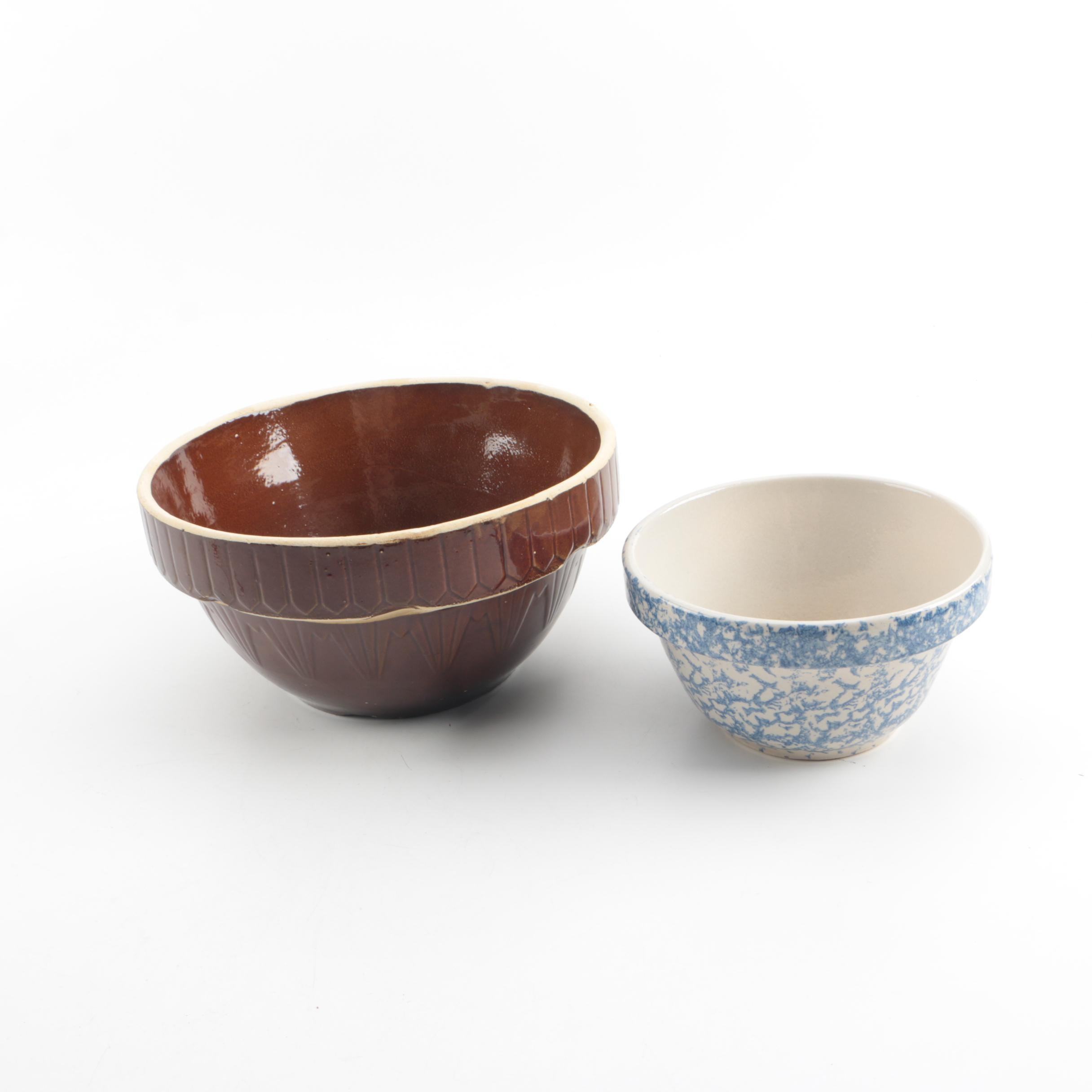 Vintage Stoneware Mixing  Bowls Including RRP Co.