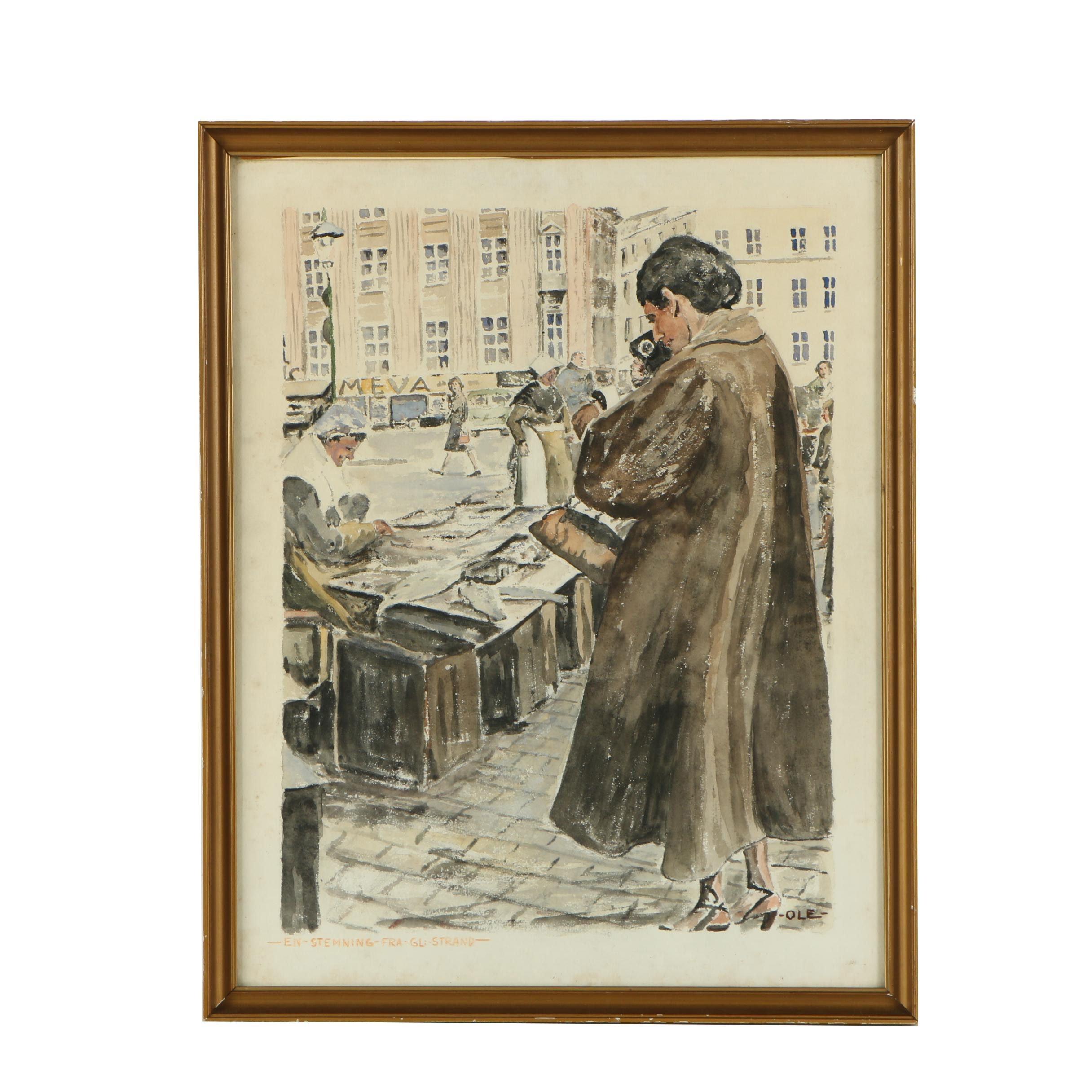 "Ole Watercolor Painting ""En Stemning Fra GL: Strand"""