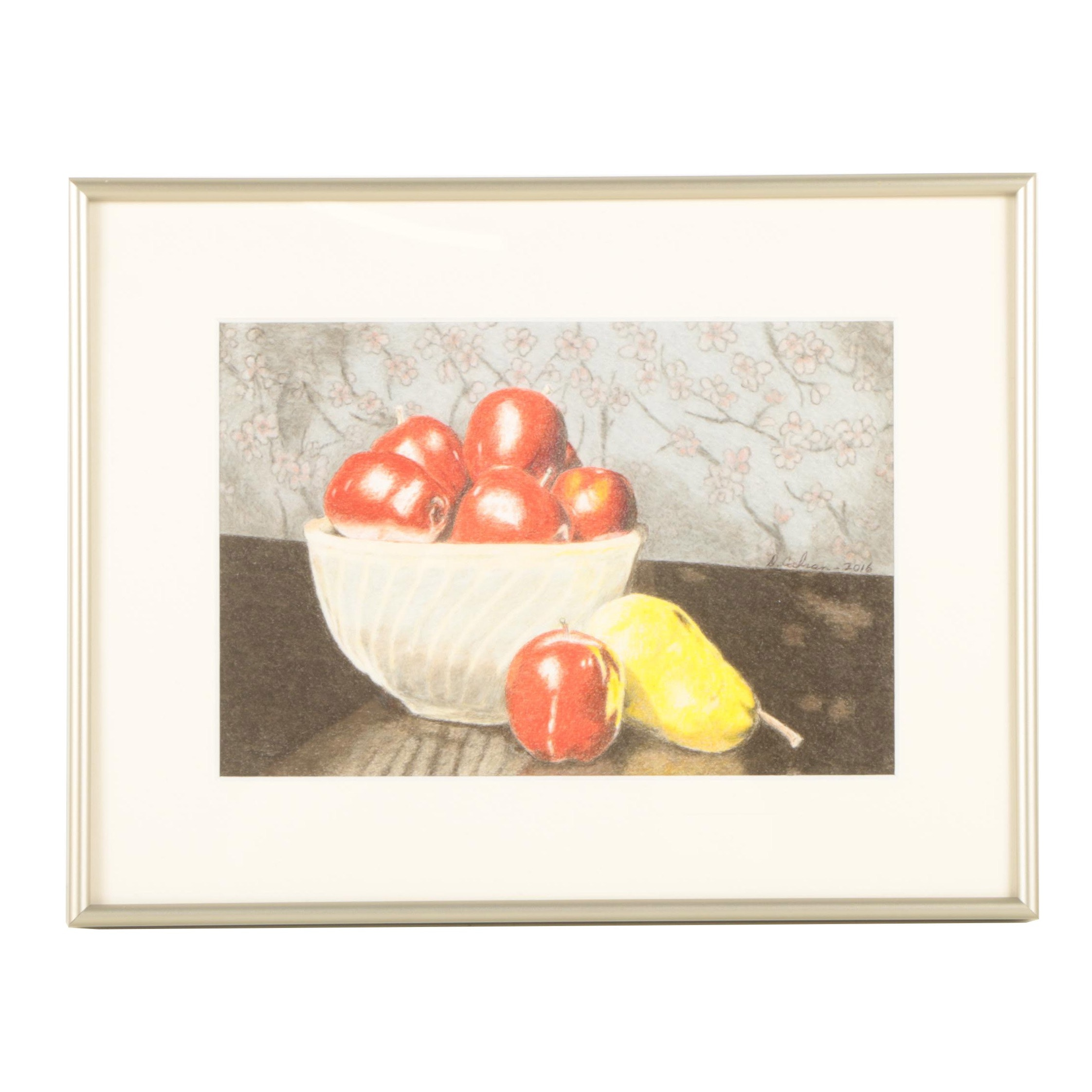 """David Cochran Colored Pencil Drawing """"Still Life with Apples and Pear"""""""
