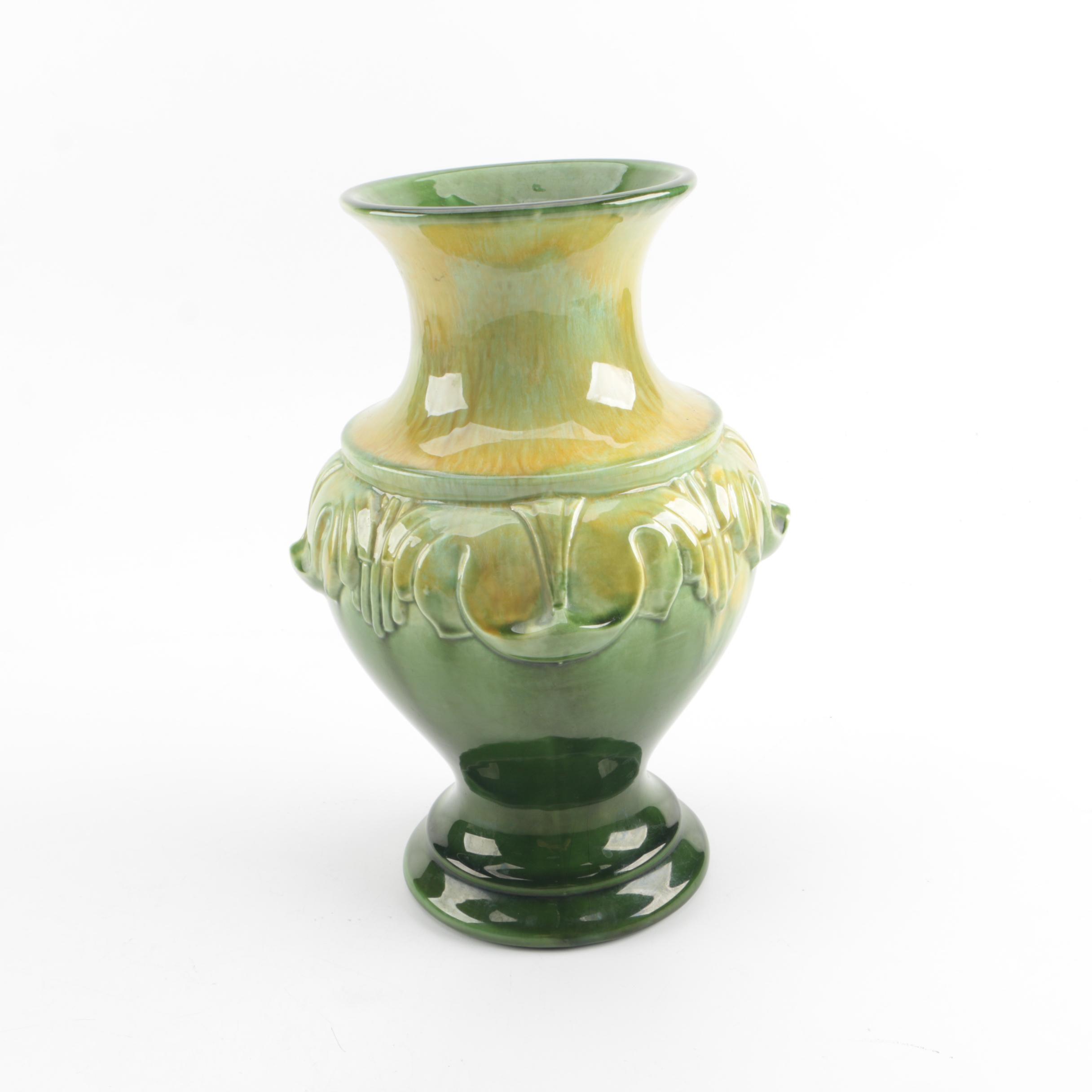 Vintage Haeger Green Ceramic Vase