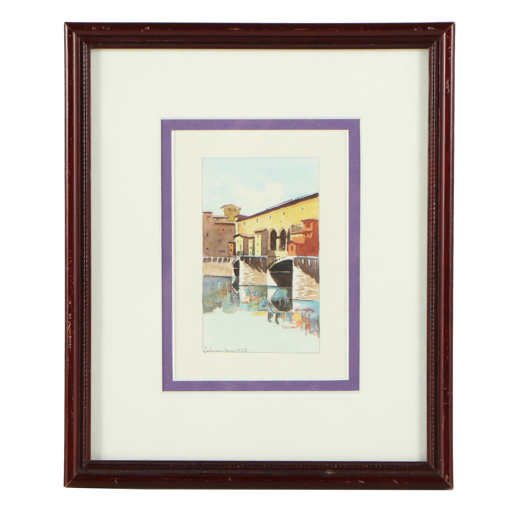 Colombo Watercolor Embellished Offset Lithograph
