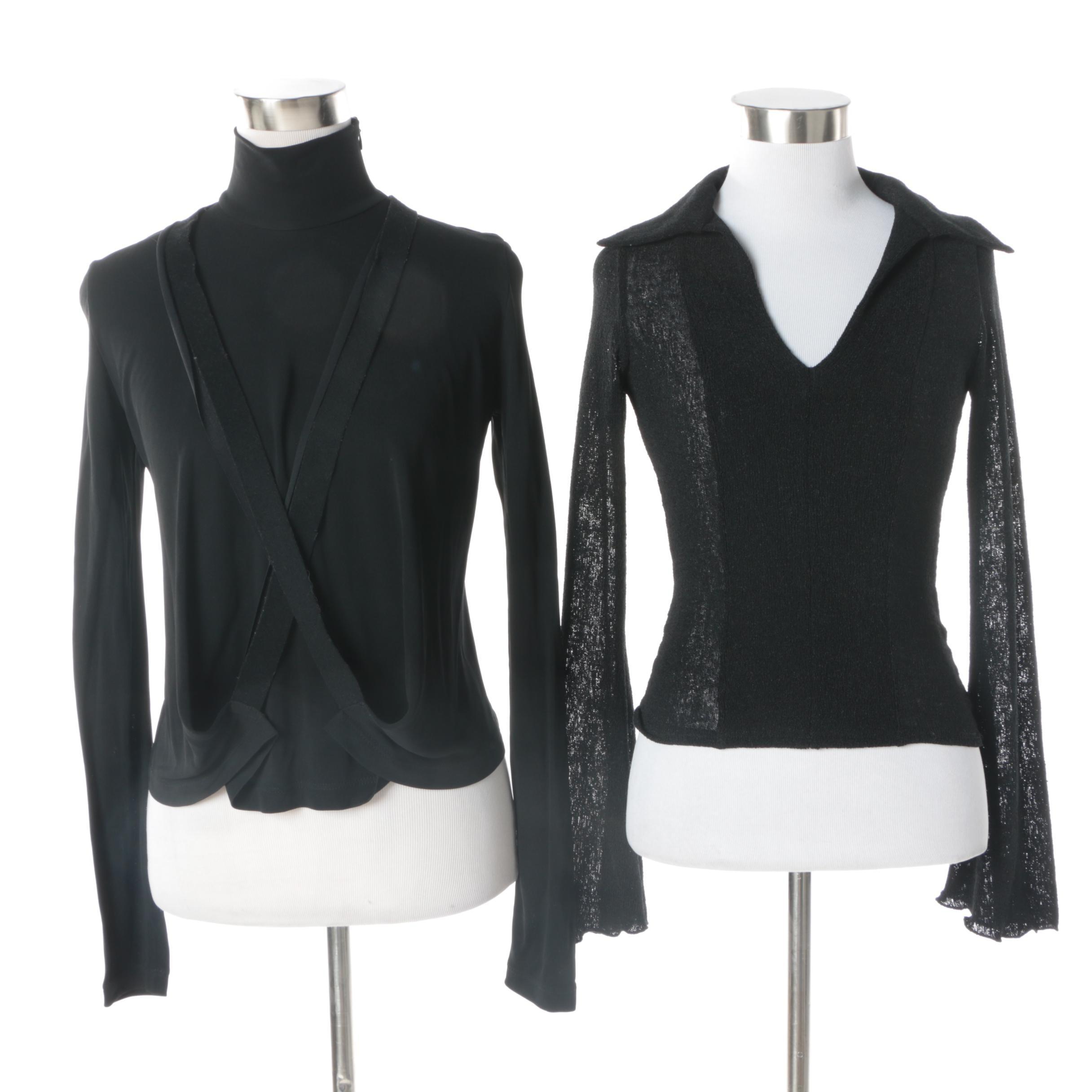 Women's Black Long Sleeve Tops Including Jean Paul Gaultier