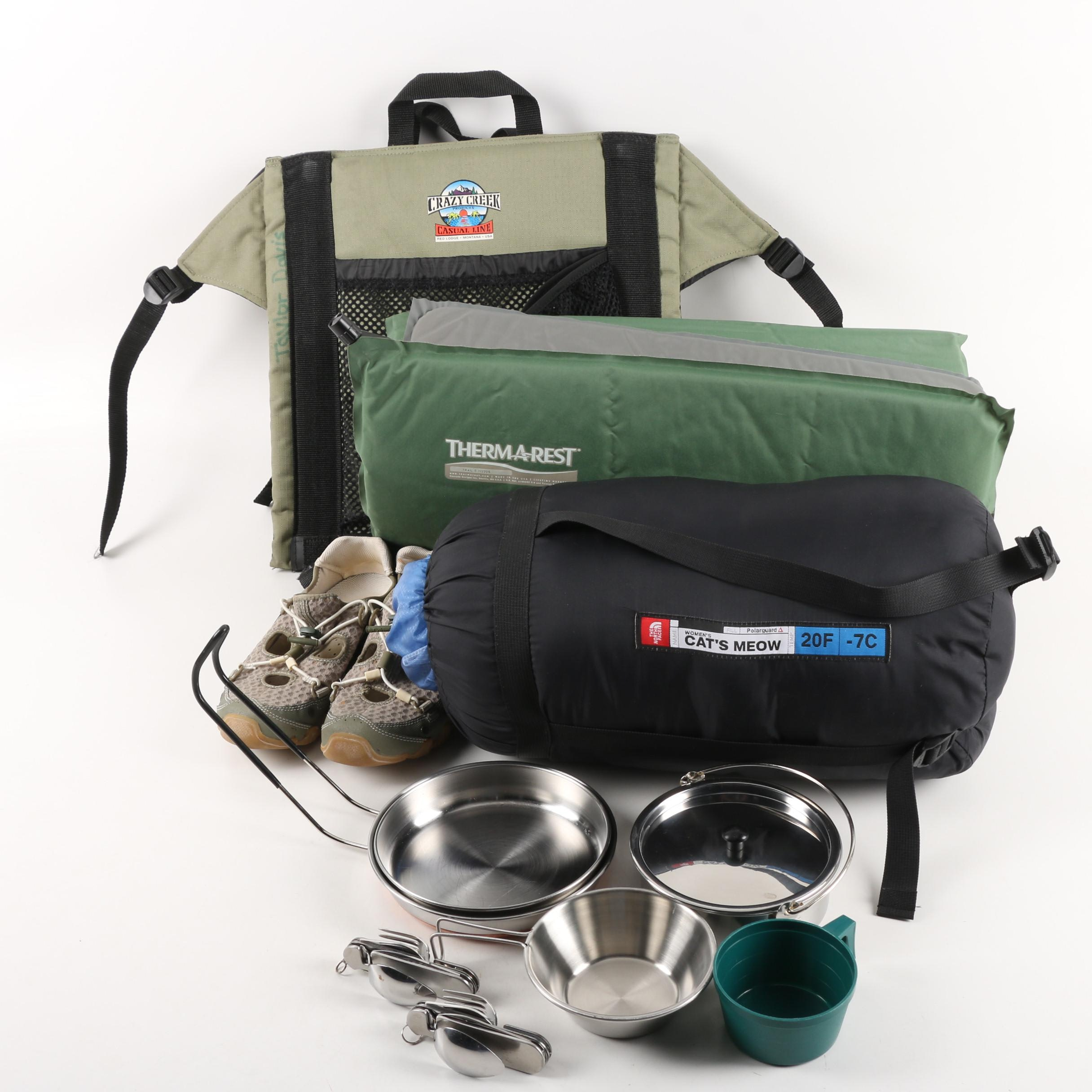 """The North Face """"Cat's Meow"""" Sleeping Bag, Therm-a-Rest Pad, & Other Camping Gear"""