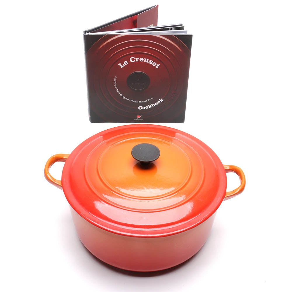 "Le Creuset Enameled Cast Iron Dutch Oven and ""Le Creuset Cookbook"""