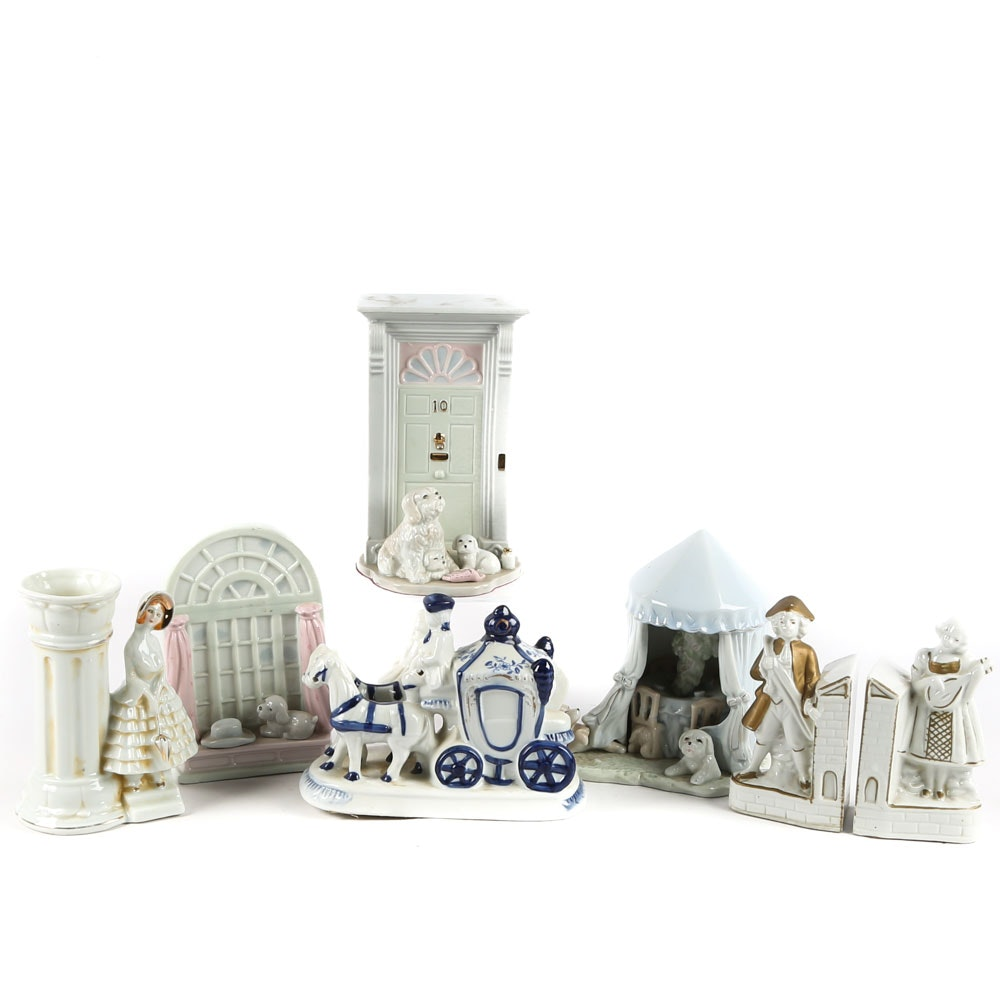 Vintage Porcelain Bookends and Figurines