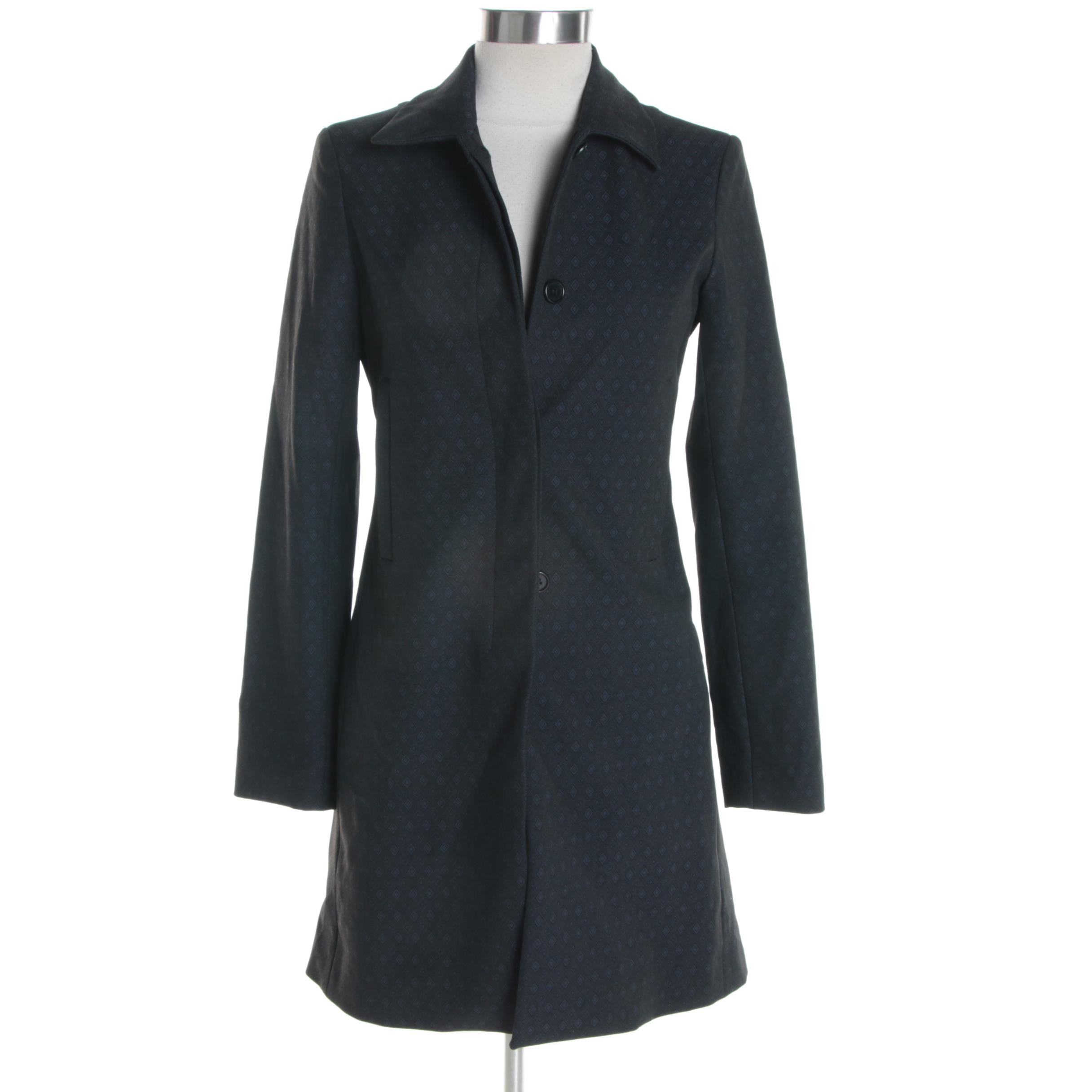 Women's Theory Black and Navy Poly-Blend Jacket