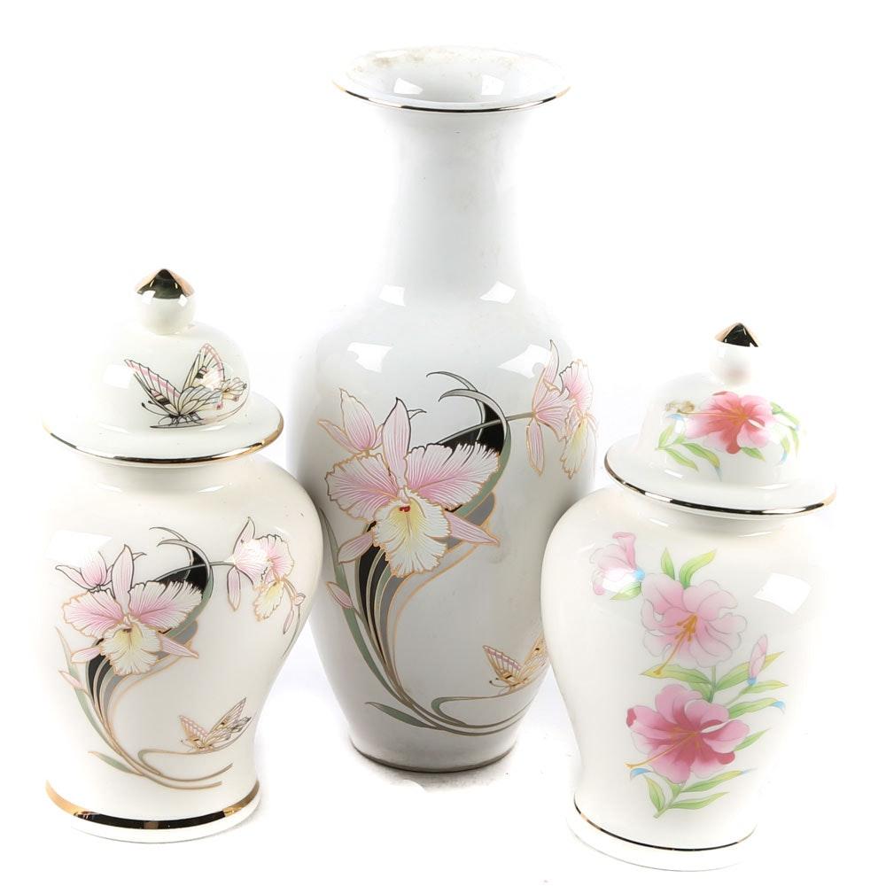 Japanese Porecelain Vase and Ginger Jars