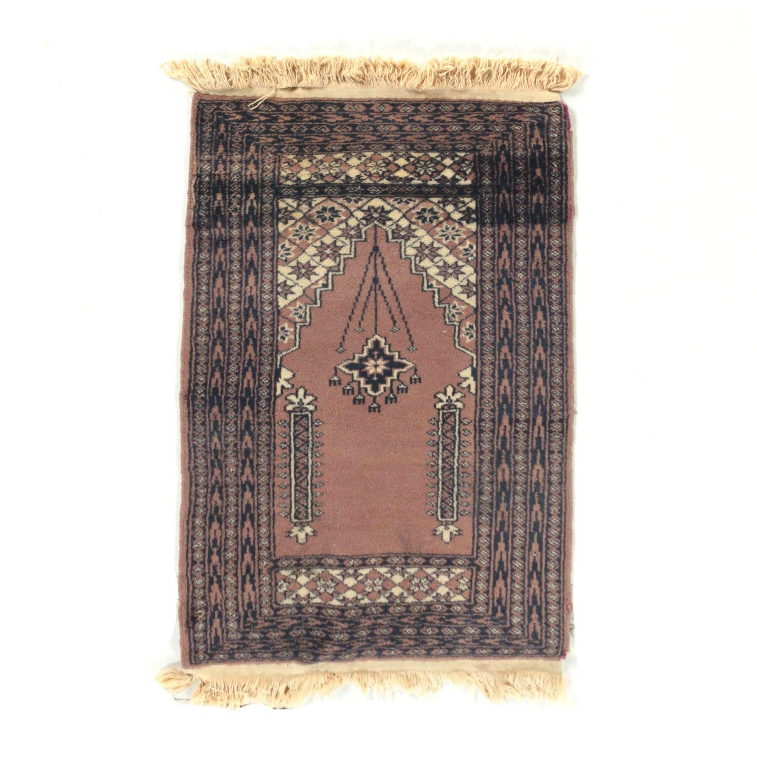 Hand-Knotted Pakistani Wool Prayer Rug