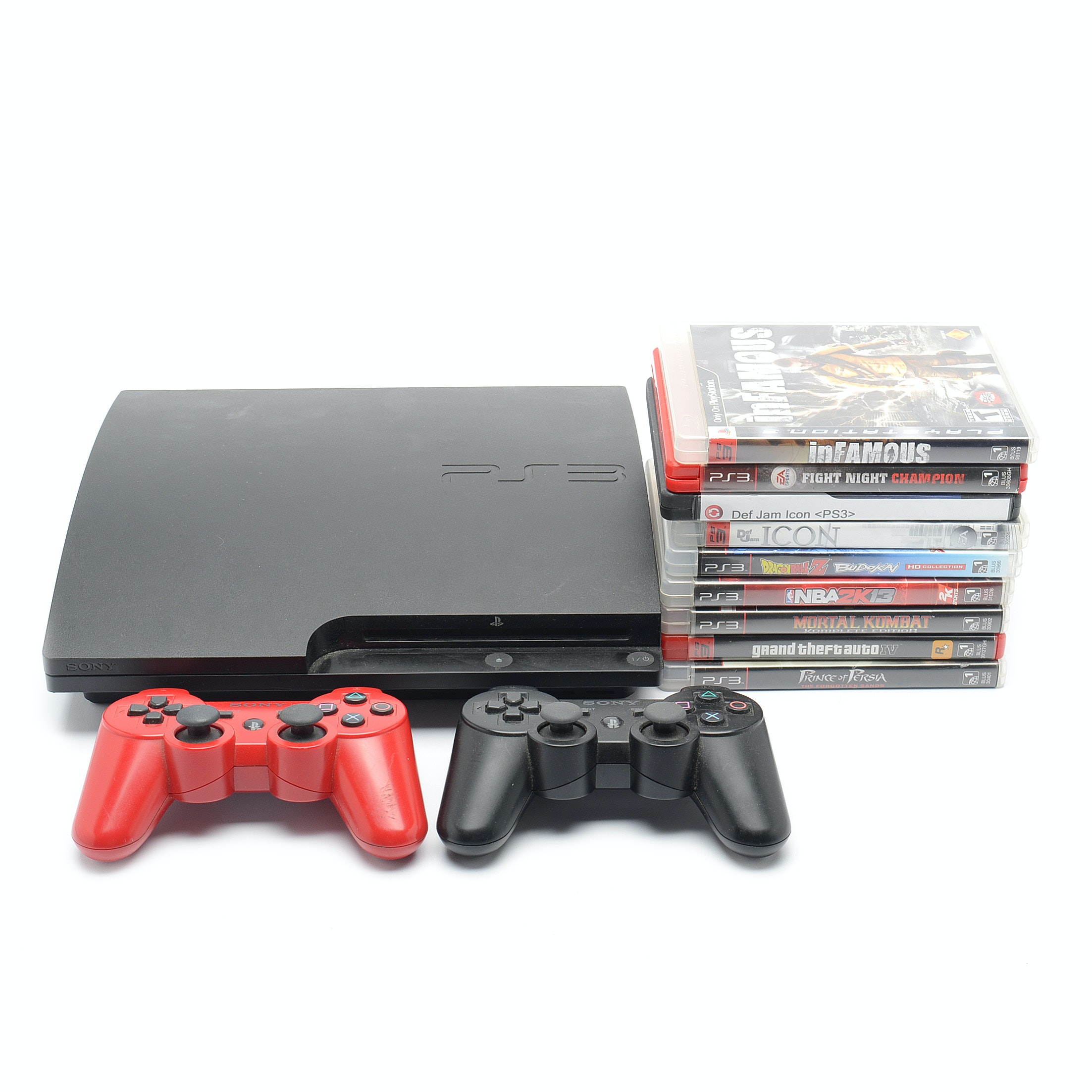 Sony PS3 Slim 320GB CECH-3001B with Controllers and Games