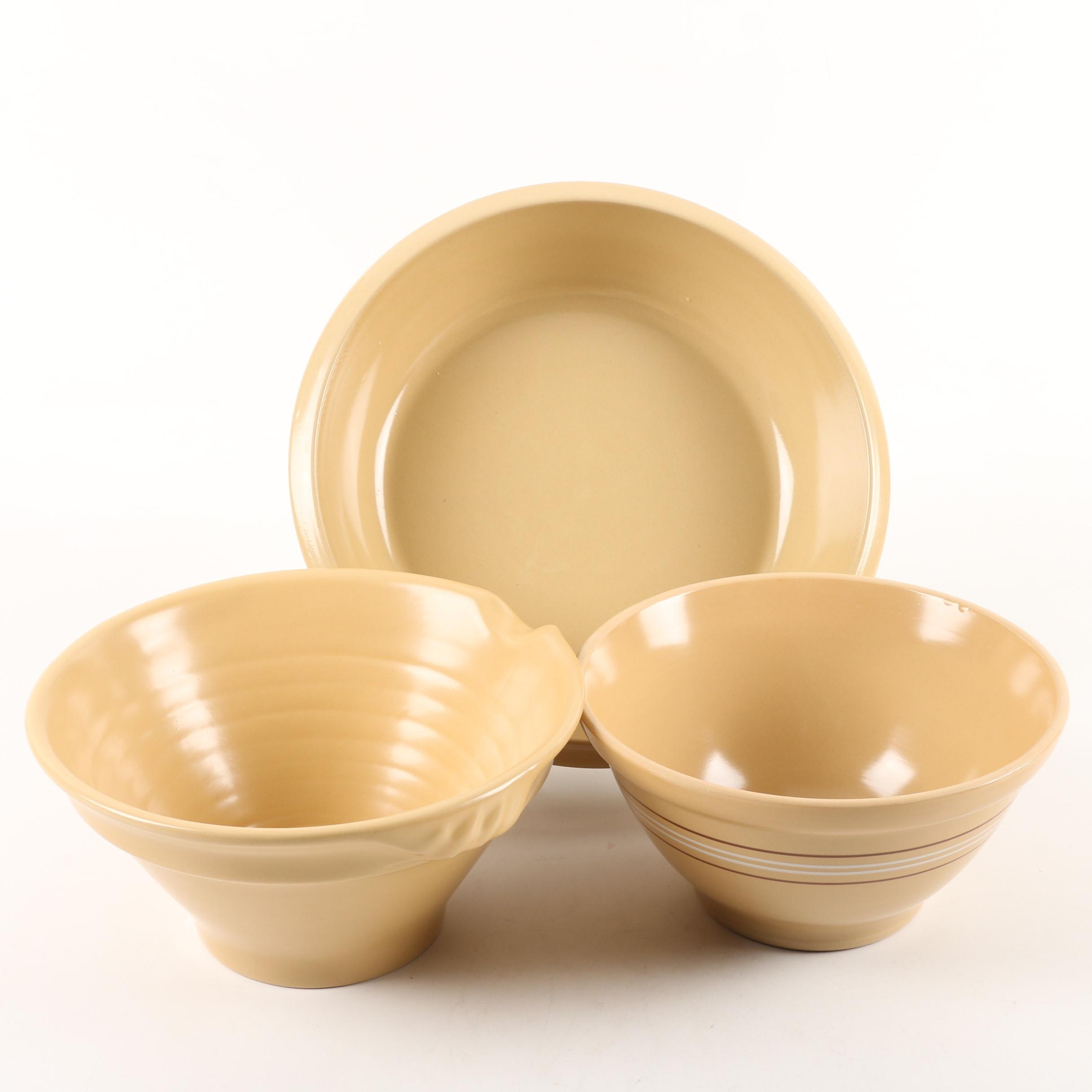 Vintage Over and Back Yellow Ware Earthenware Mixing Bowls