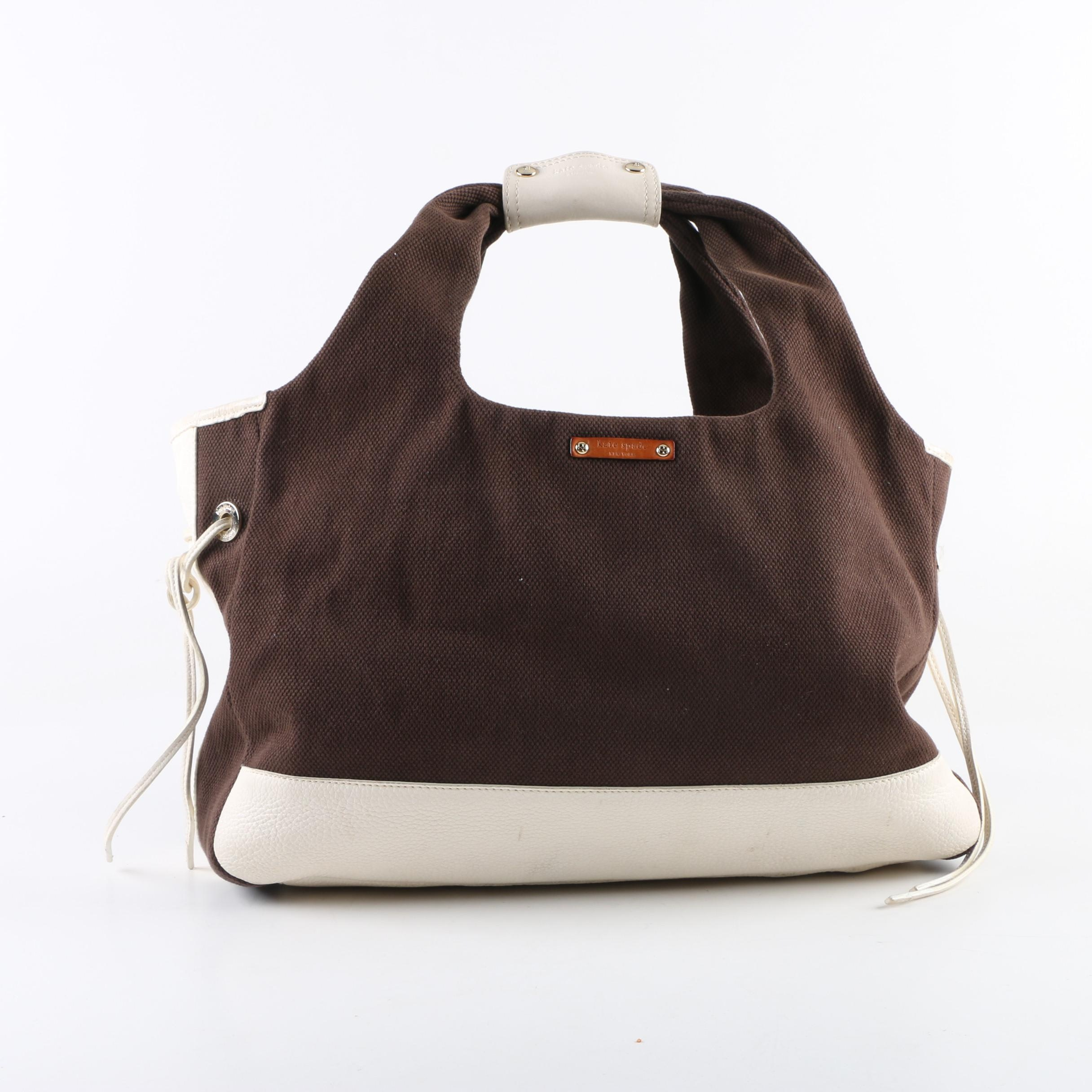 Kate Spade New York Brown Canvas Tote with Leather Accents