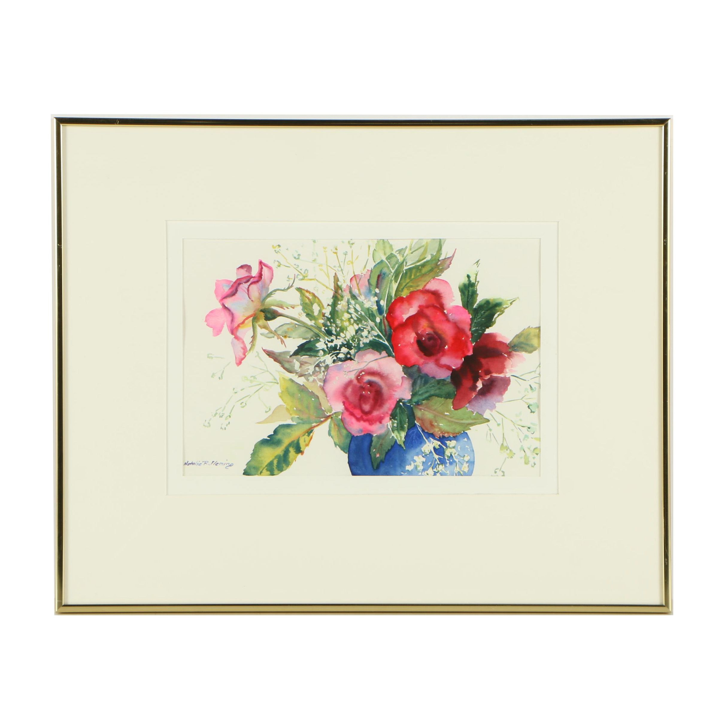 Natalie R. Fleming Watercolor Painting of Roses