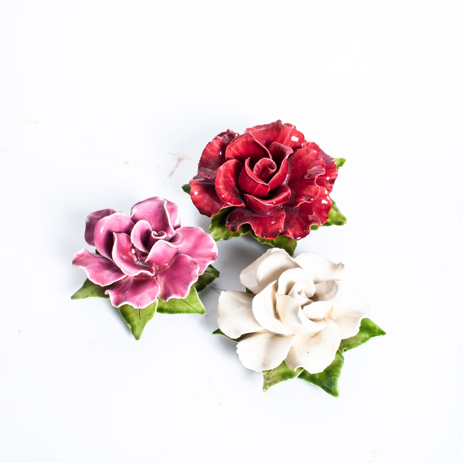 Set of Vintage French Porcelain Rose Wall Sculptures