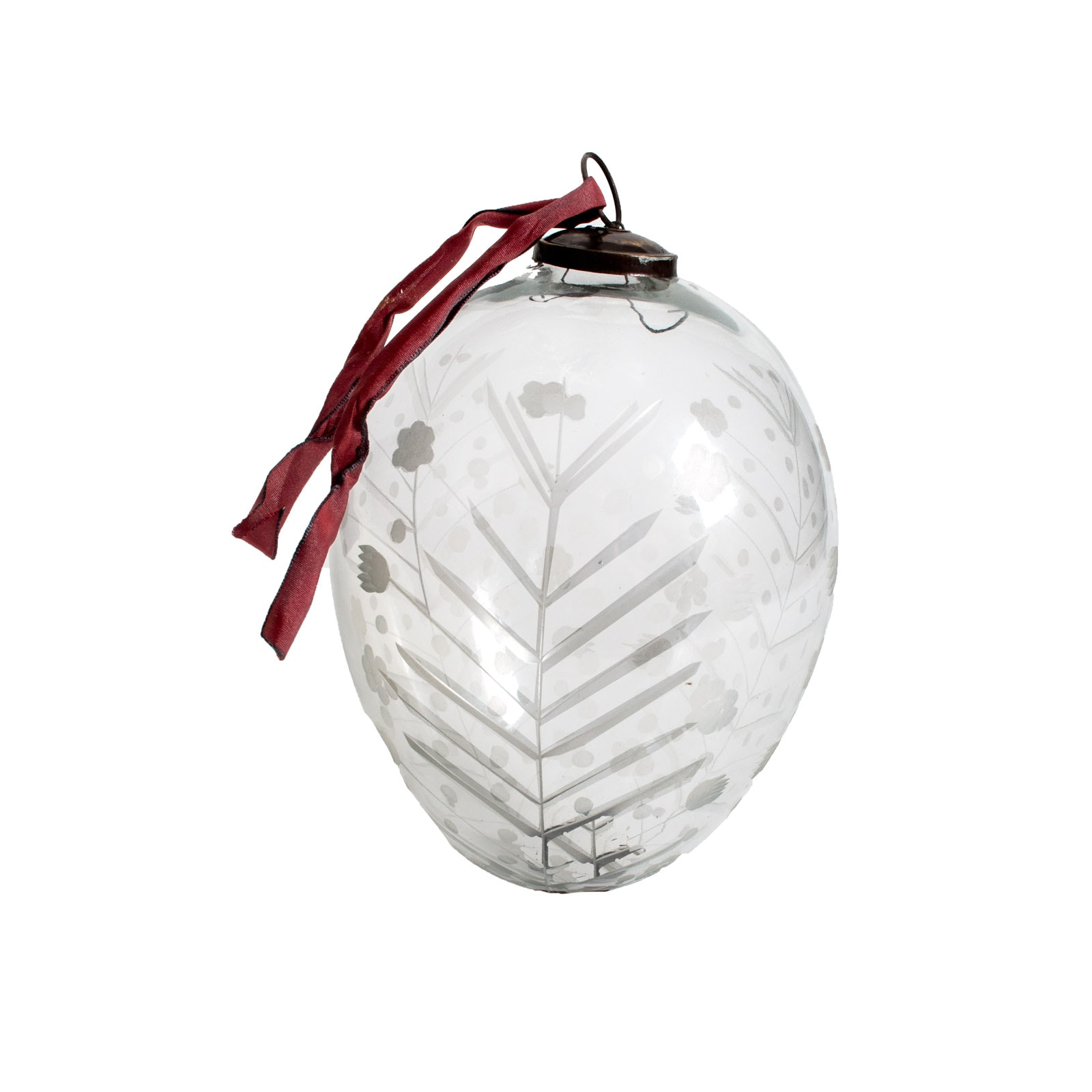 House of France Large Etched Glass Egg Ornament