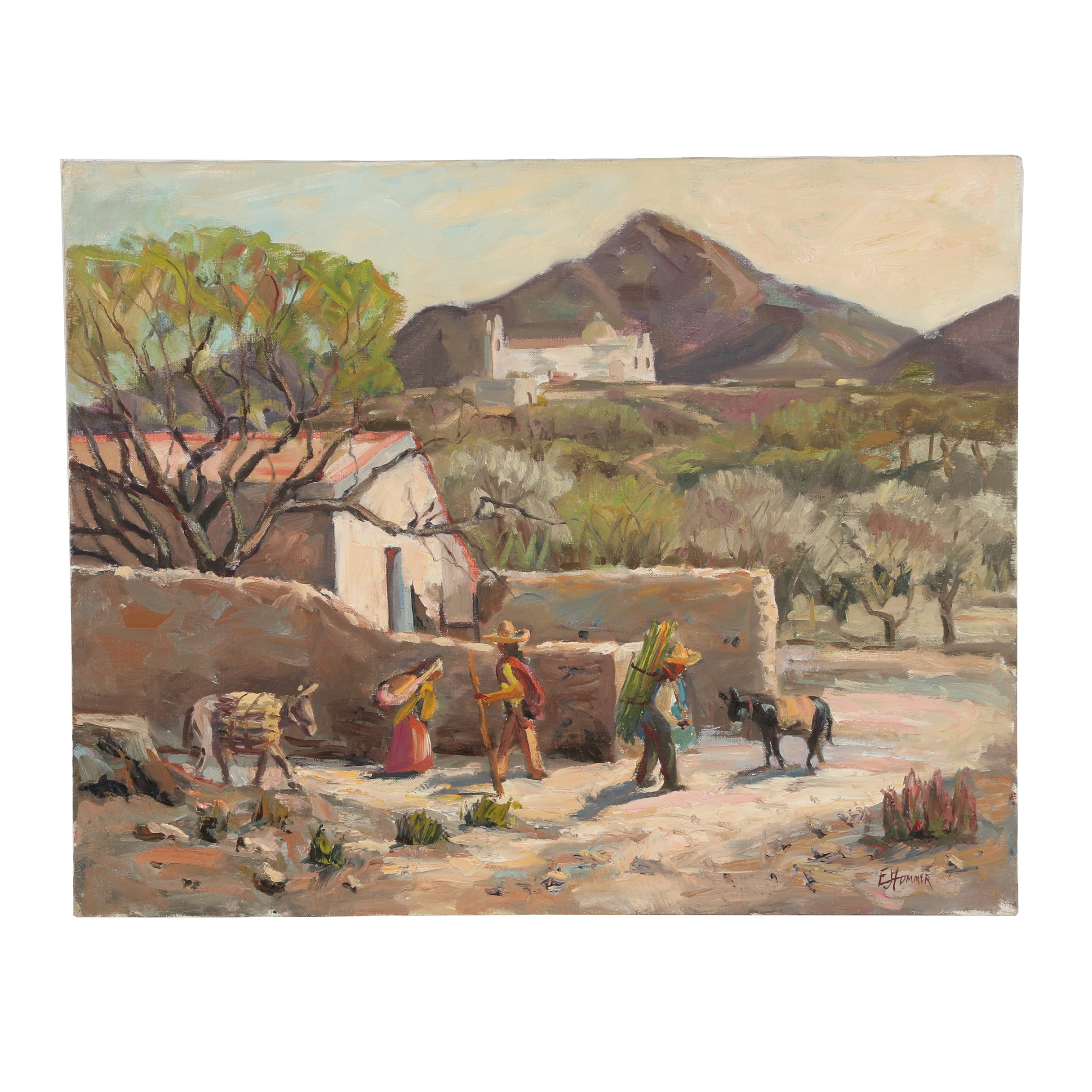 "Judge Edward J. Hummer Oil Painting ""A Corner of Mexico"""