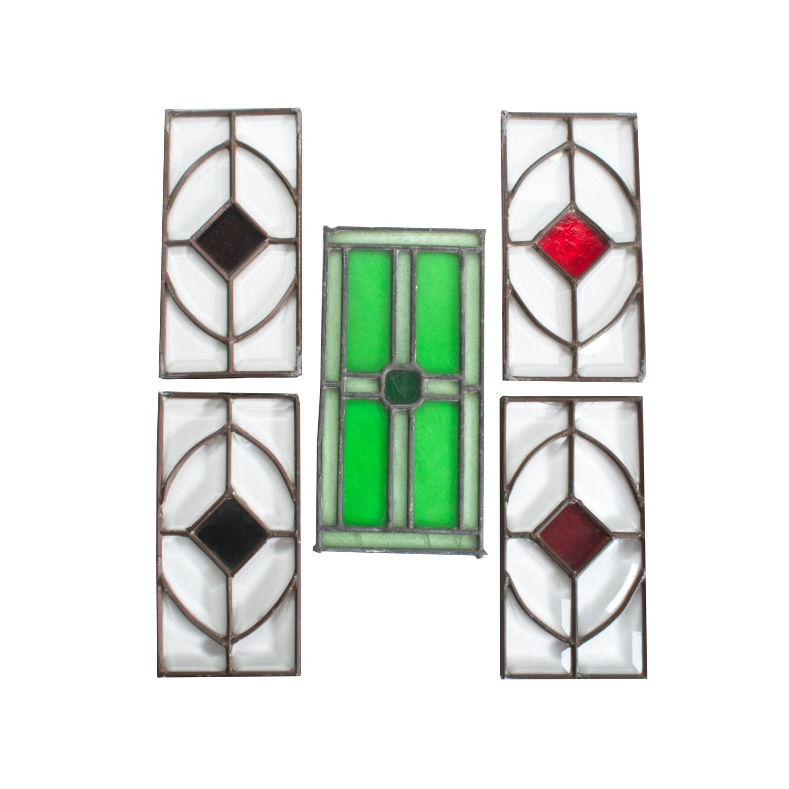 Antique Set of Leaded Stained Glass Panels