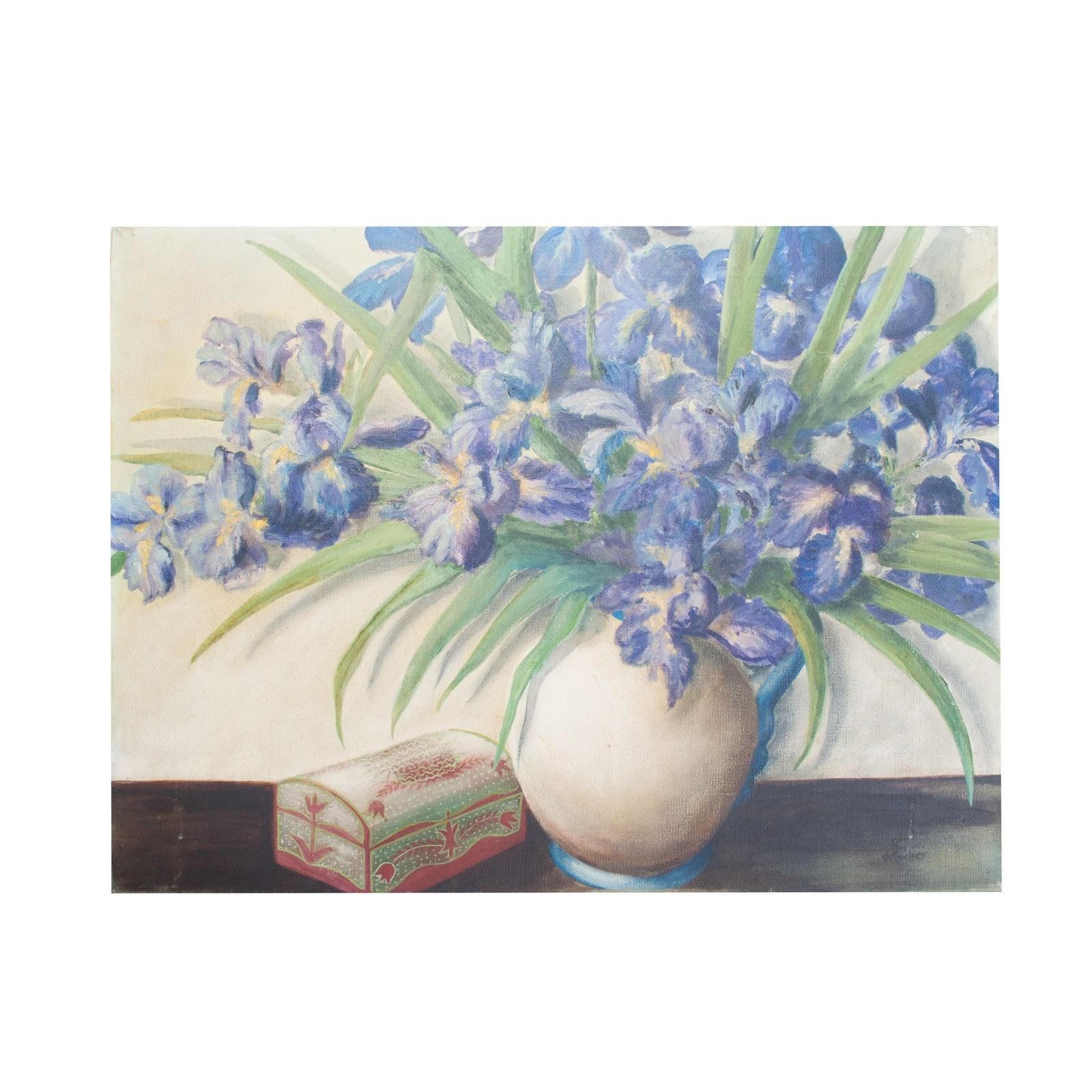 Original Oil Painting on Canvas of Purple Iris Still Life