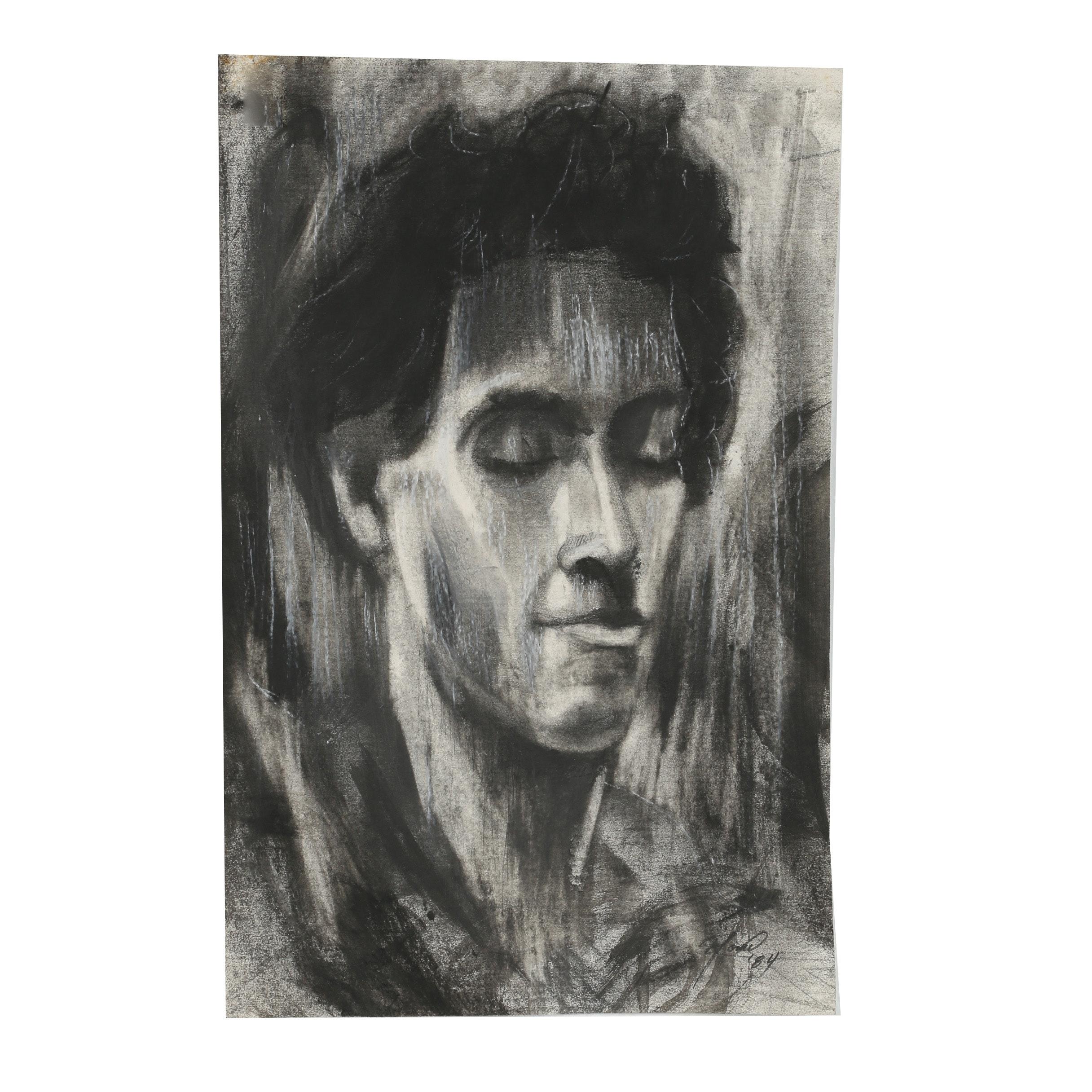 "Ricardo Morin 1984 Charcoal and Graphite Drawing ""Poeta (Benjamin Ivry)"""