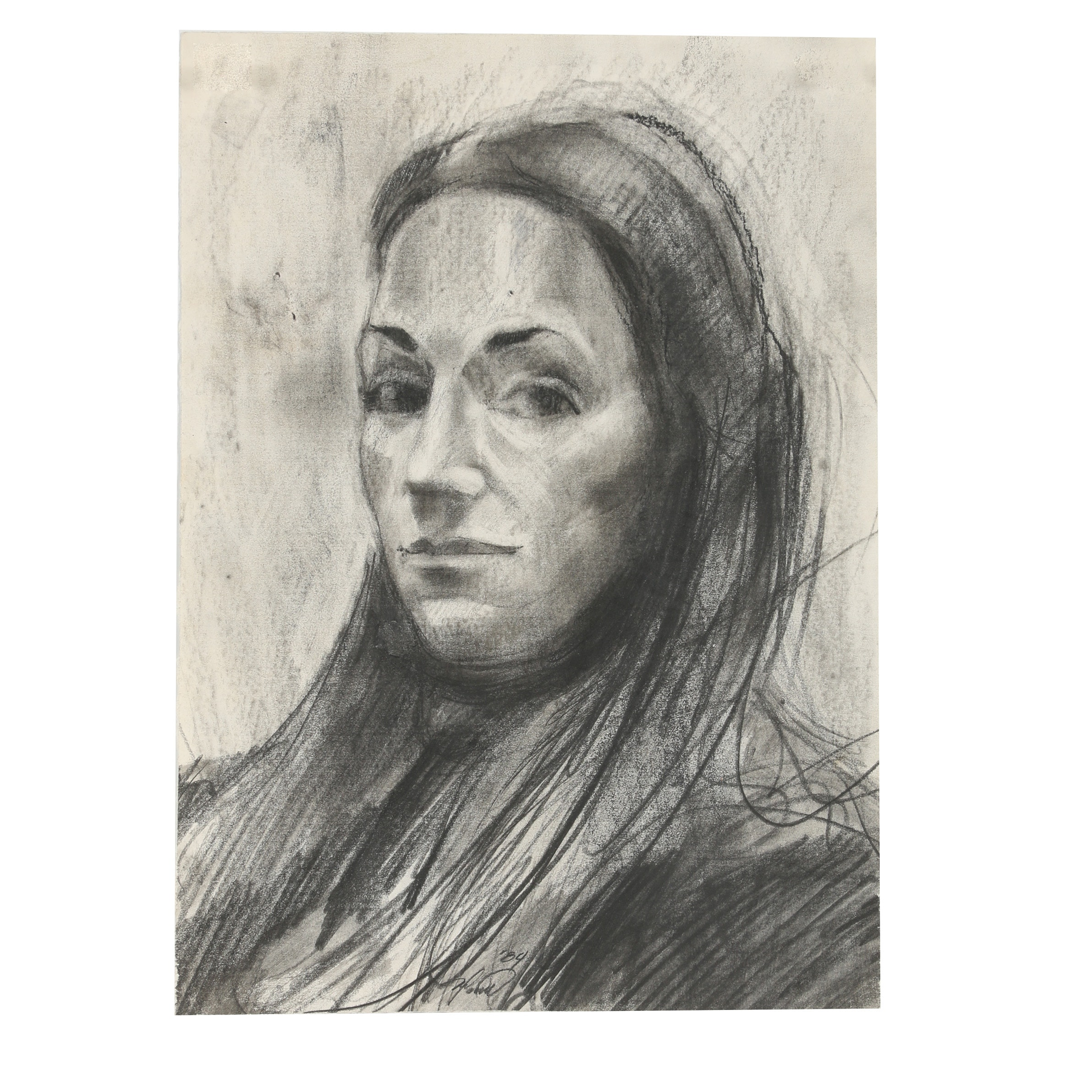 """Ricardo Morin 1989 Graphite and Charcoal Drawing """"Late Wife"""""""