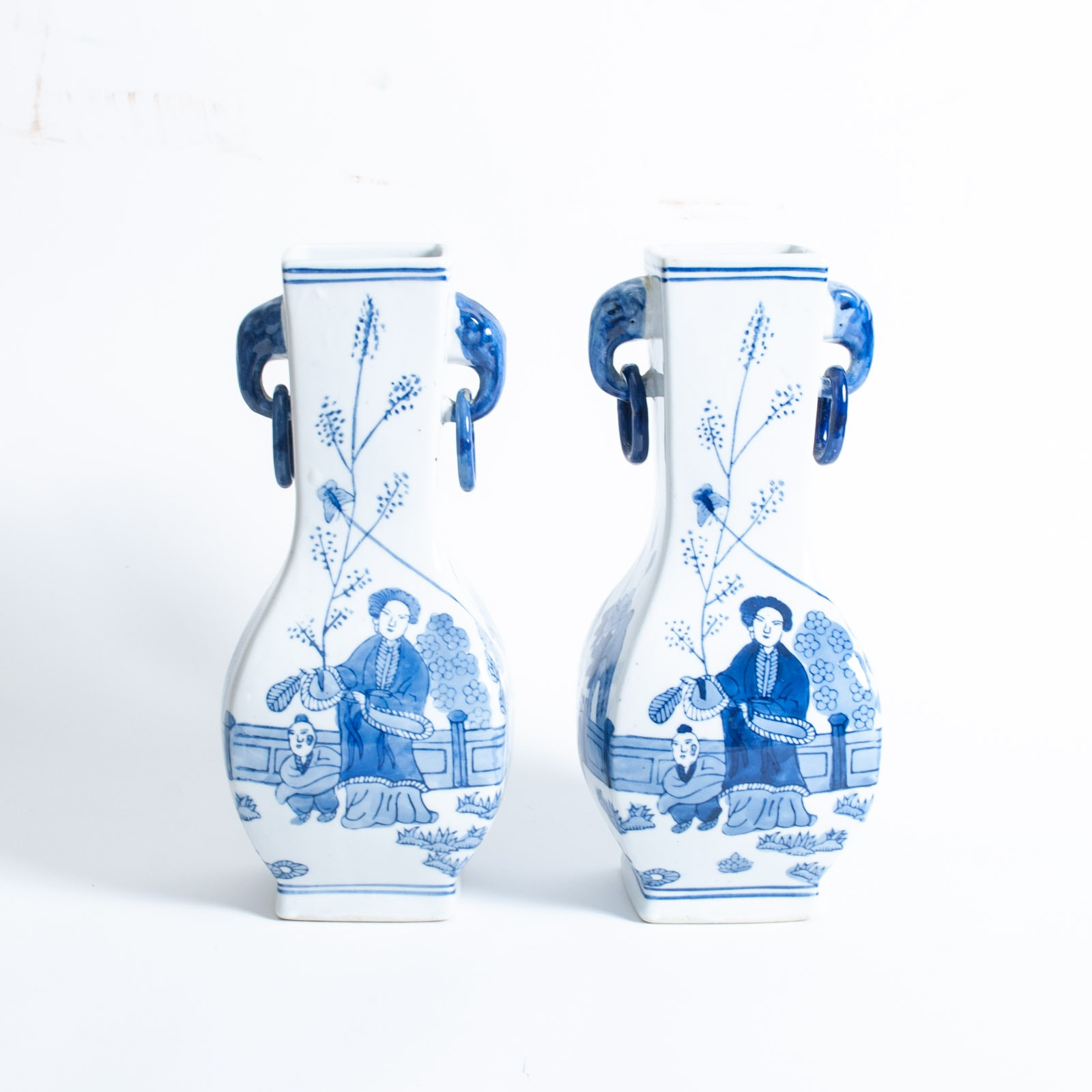 Pair of Chinese Export Blue on White Ceramic Vases
