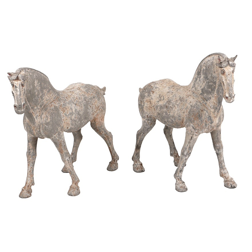 Pair of Tang Dynasty Painted Pottery Horses