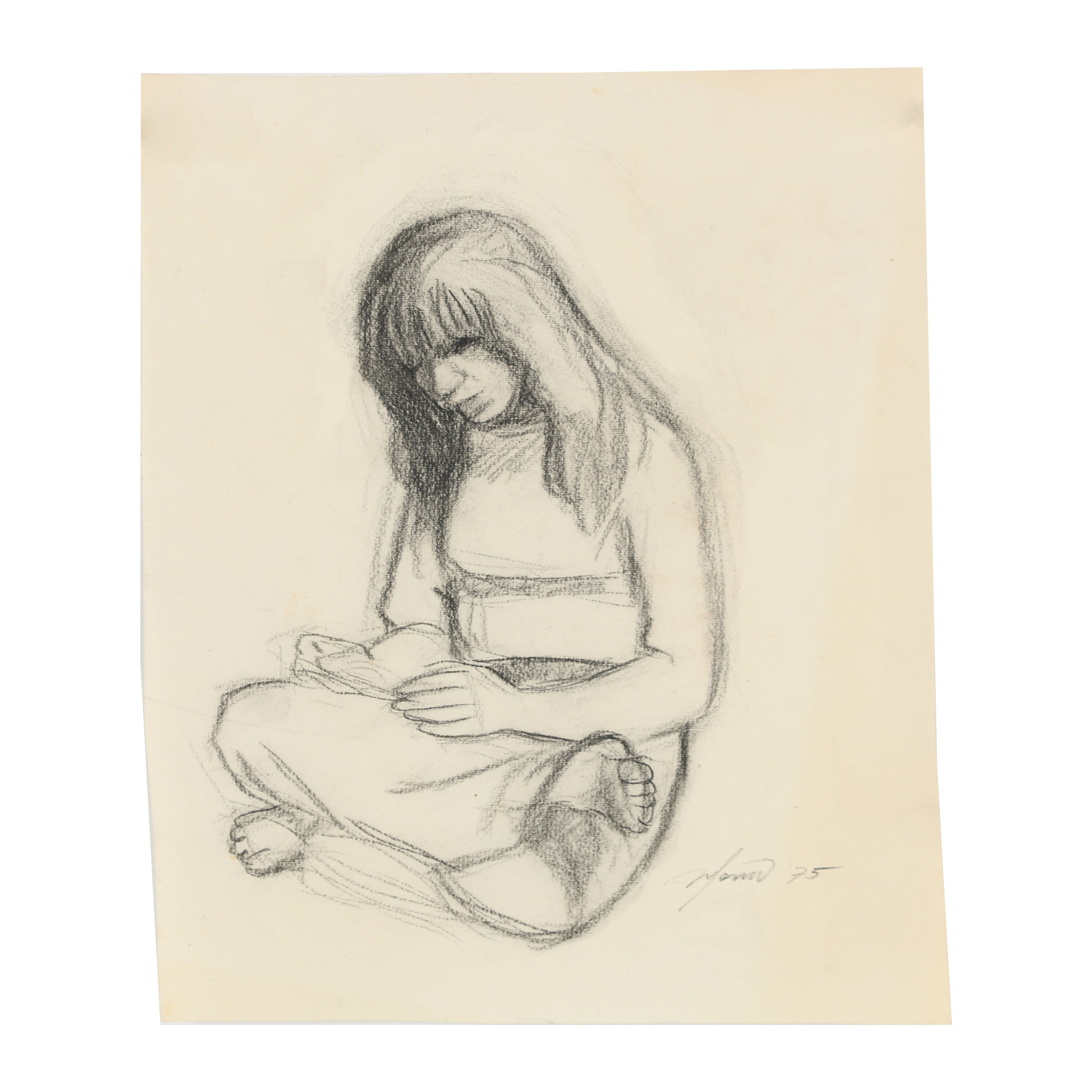 "Ricardo Morin 1975 Charcoal Drawing ""Lotus"""
