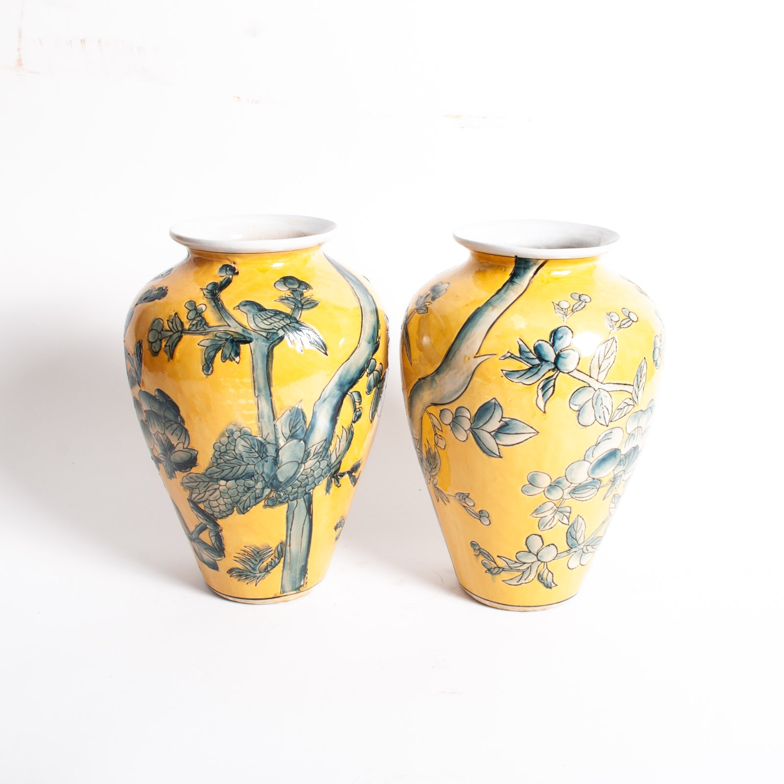Pair of Chinese Export Porcelain Blue on Yellow Vases