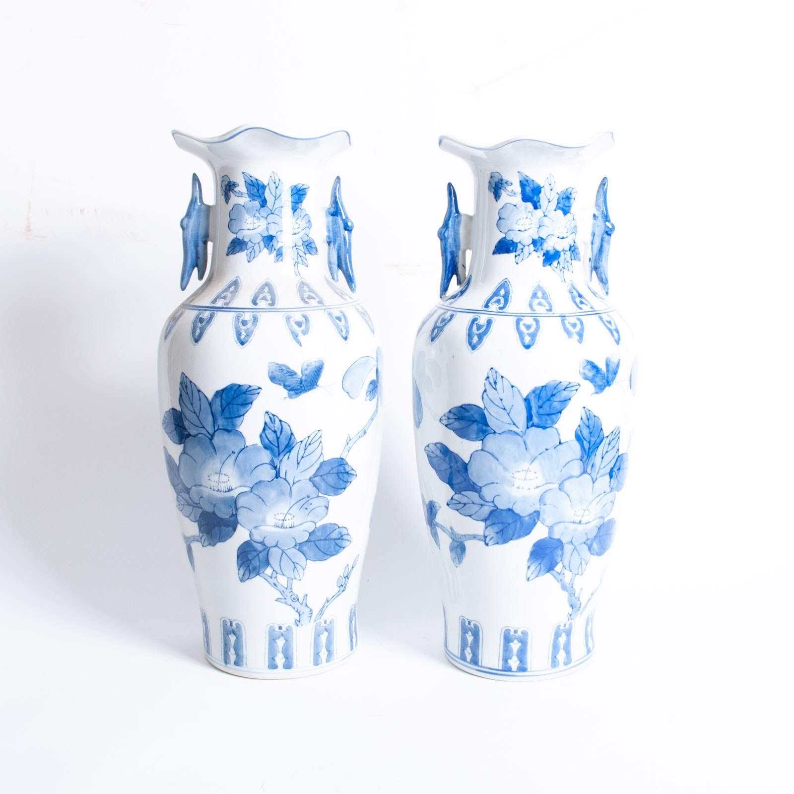 Pair of Blue on White Chinese Porcelain Vases