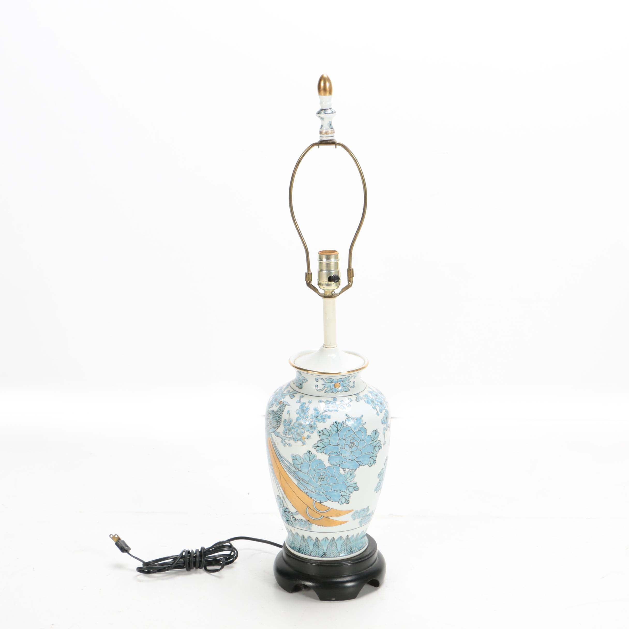 Japanese Gold Imari Ceramic Lamp with Peacocks and Chrysanthemums