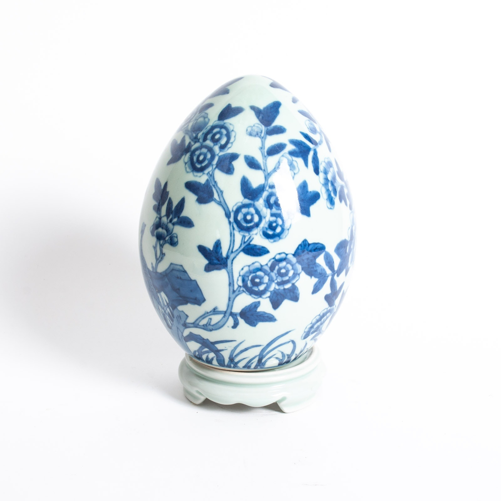 Large Blue on Grey Porcelain Egg on Stand