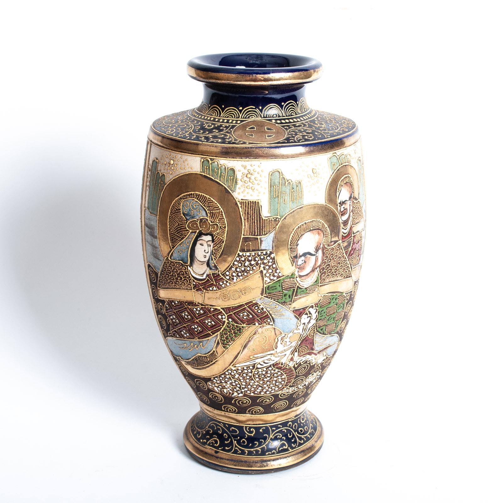 Hand-Painted Japanese Satsuma Vase