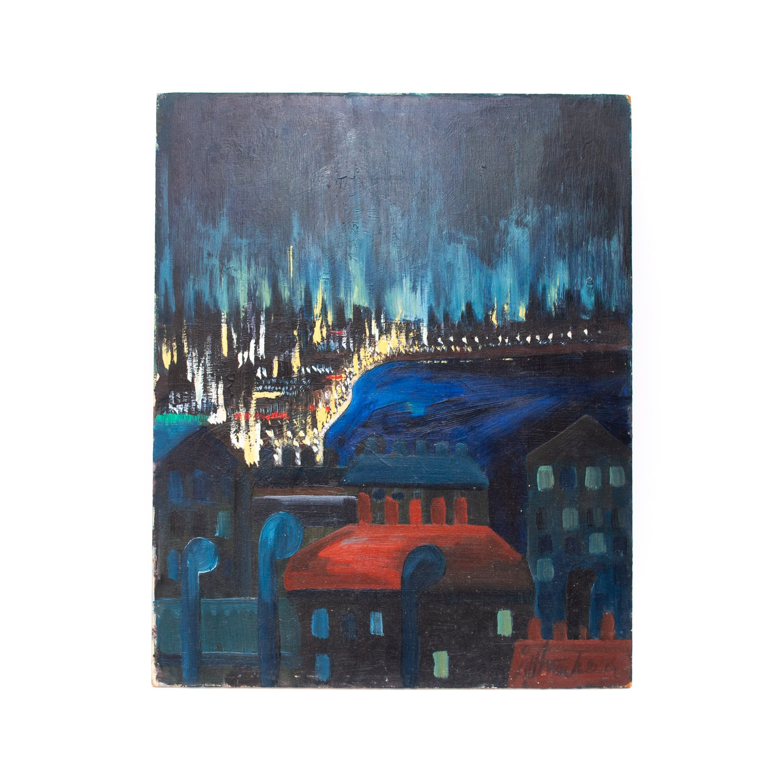 Åke Strömber 1961 Original Oil Painting on Masonite of Stockholm Cityscape