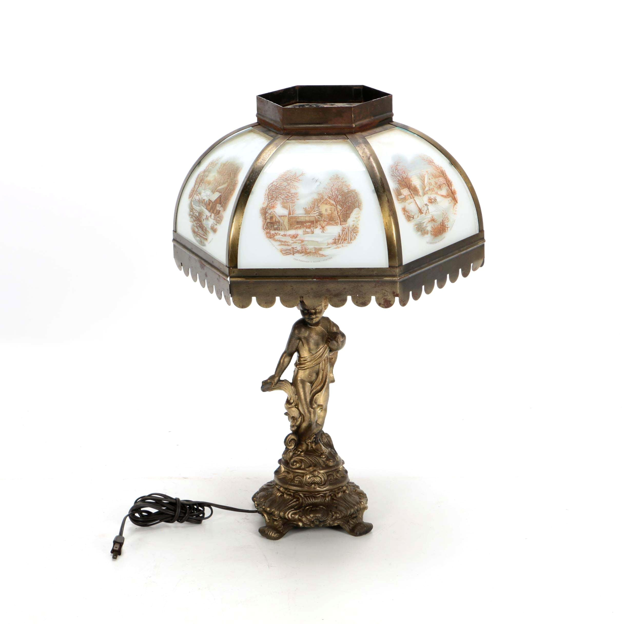 Figural Cherub Table Lamp With Currier and Ives Paneled Glass Lampshade
