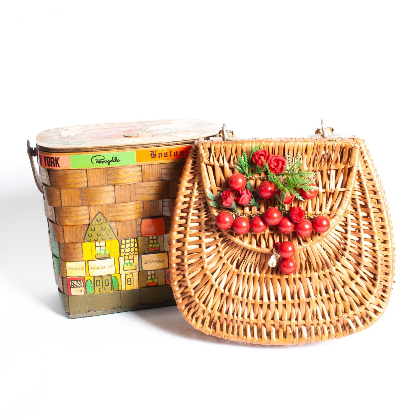"Vintage Caro Nan ""Pappagallo"" Woven Basket Purse with Beaded Basket Purse"