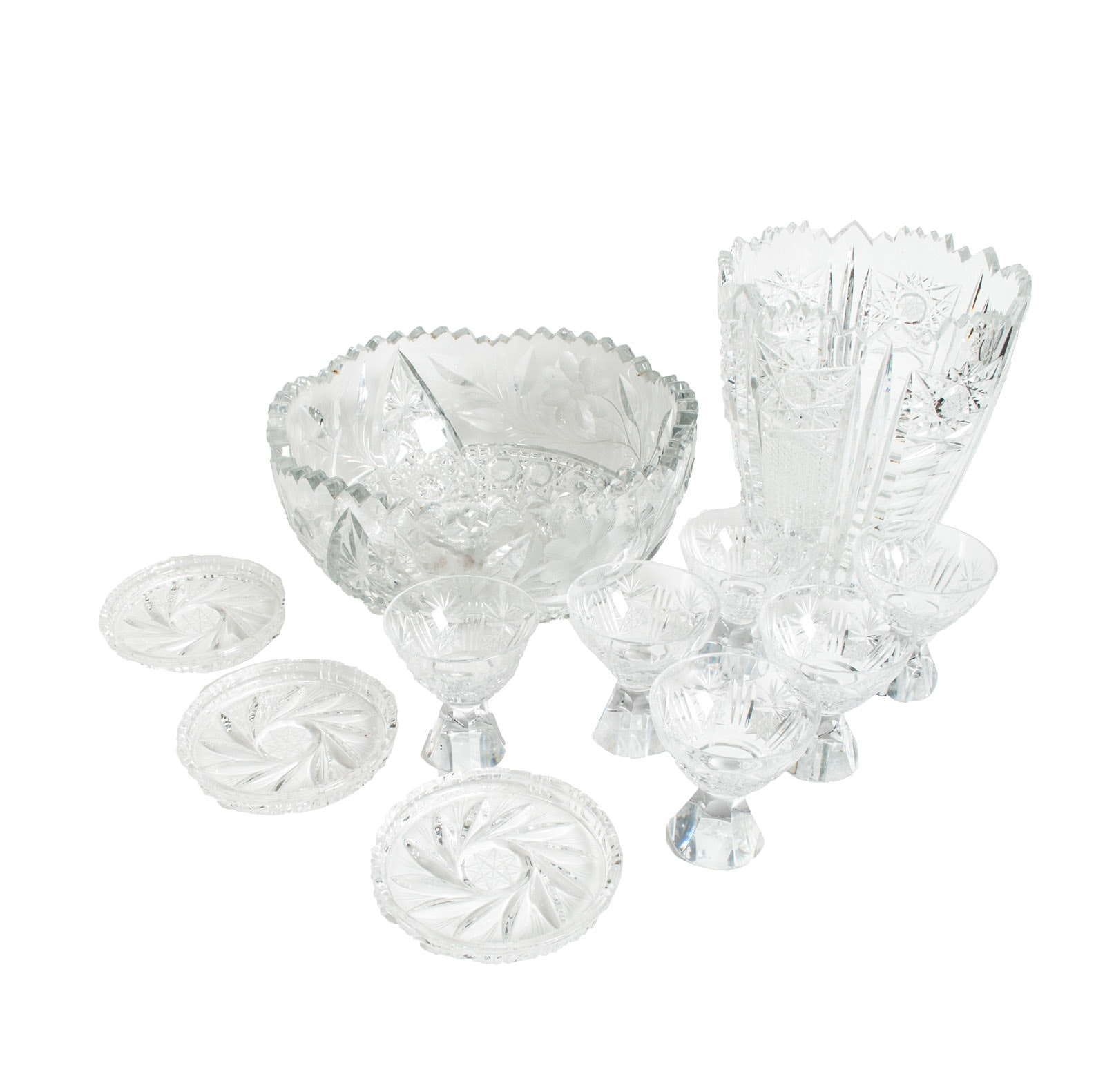 American Brilliant Period and Cut Glass Assortment