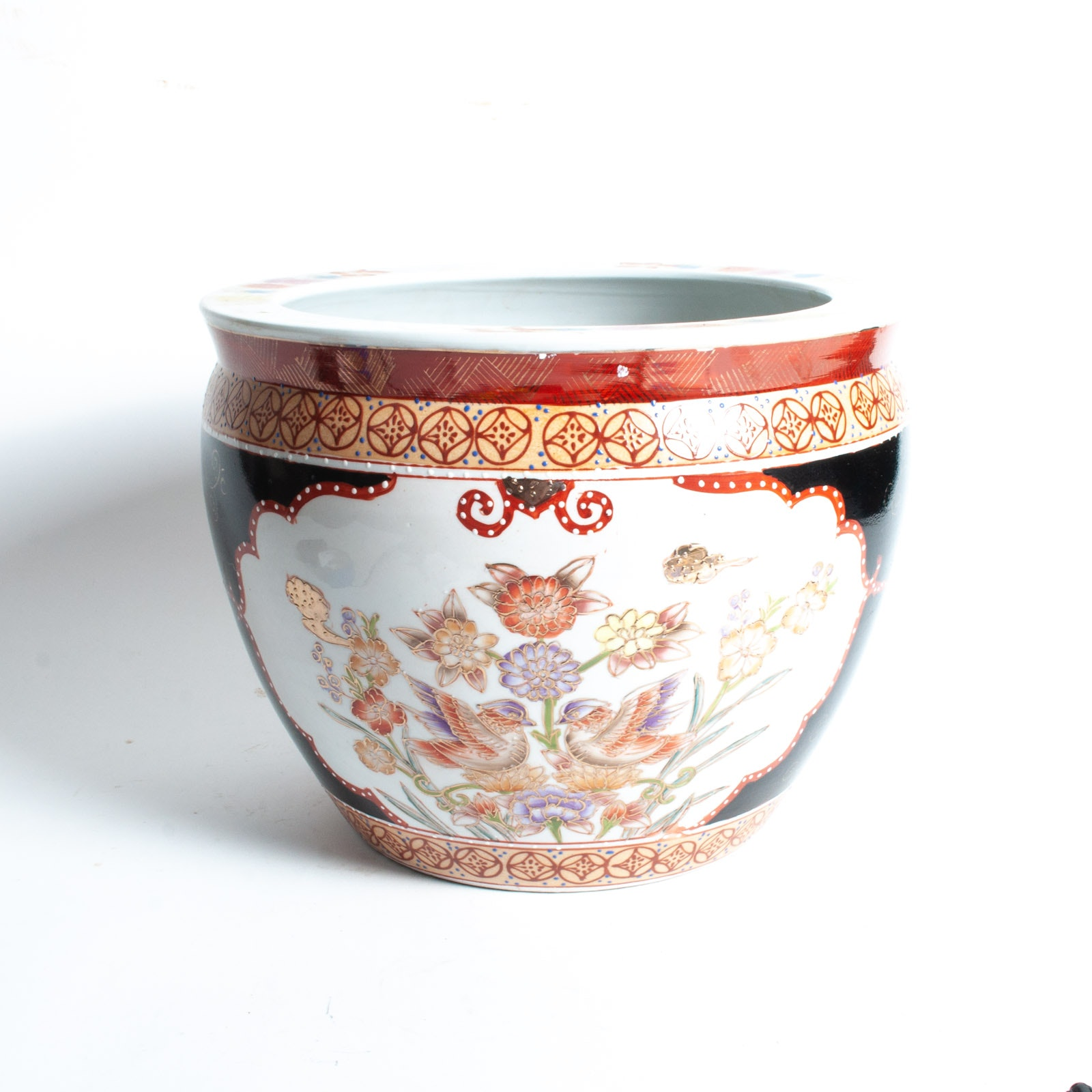 Chinese Hand Decorated Satsuma Style Fish Bowl Jardiniere