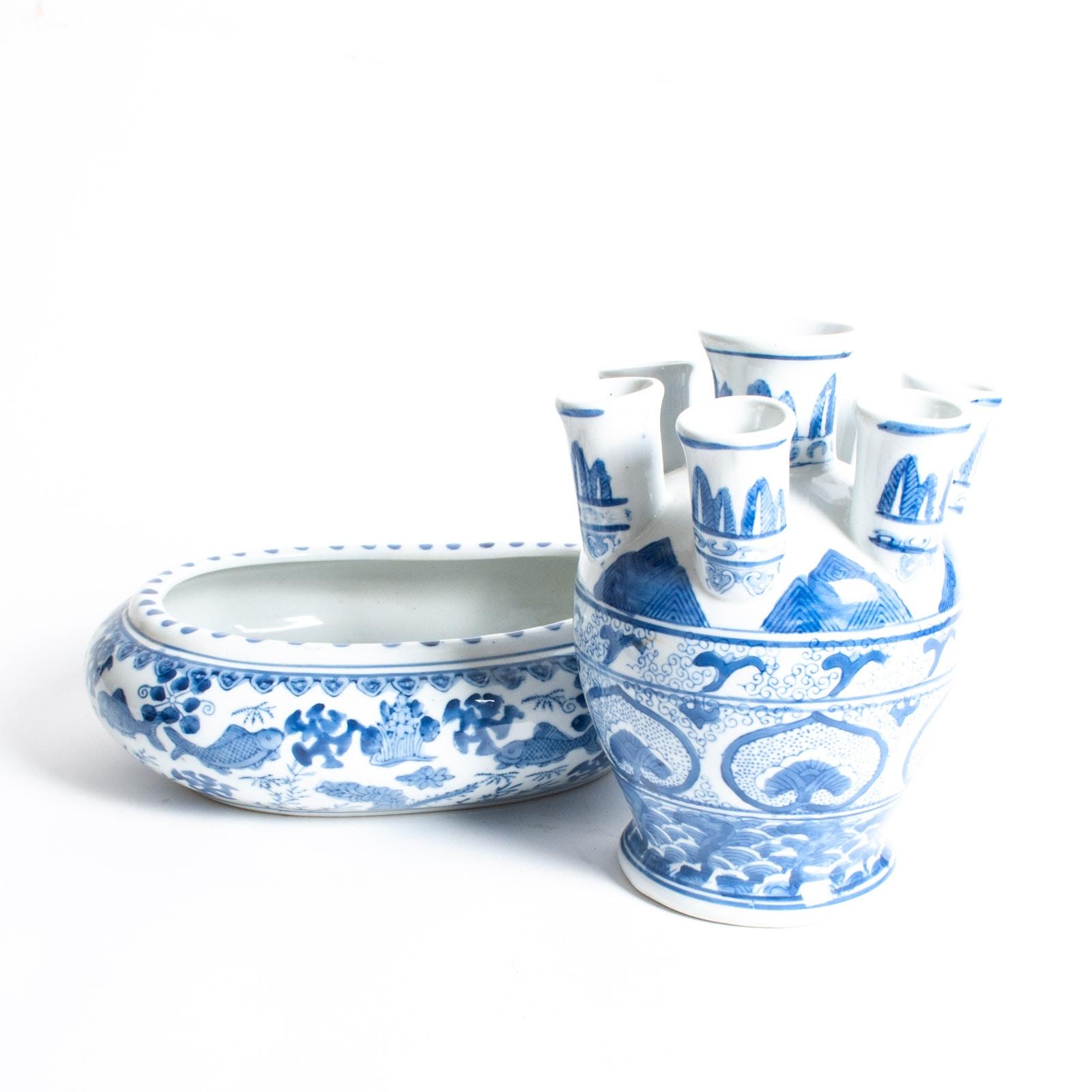 Blue on White Porcelain Tulipiere Vase and Fish Bowl Jardiniere