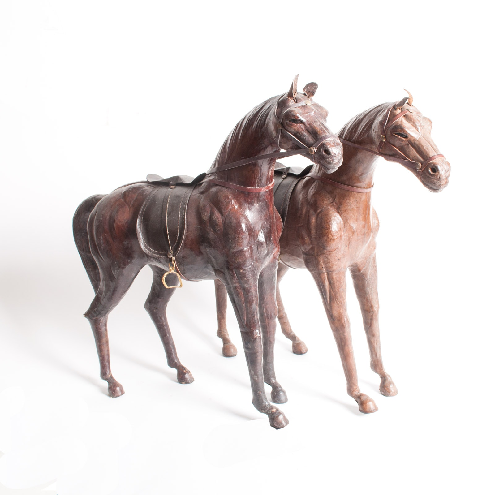 Pair of Vintage Leather Covered Horse Figurines