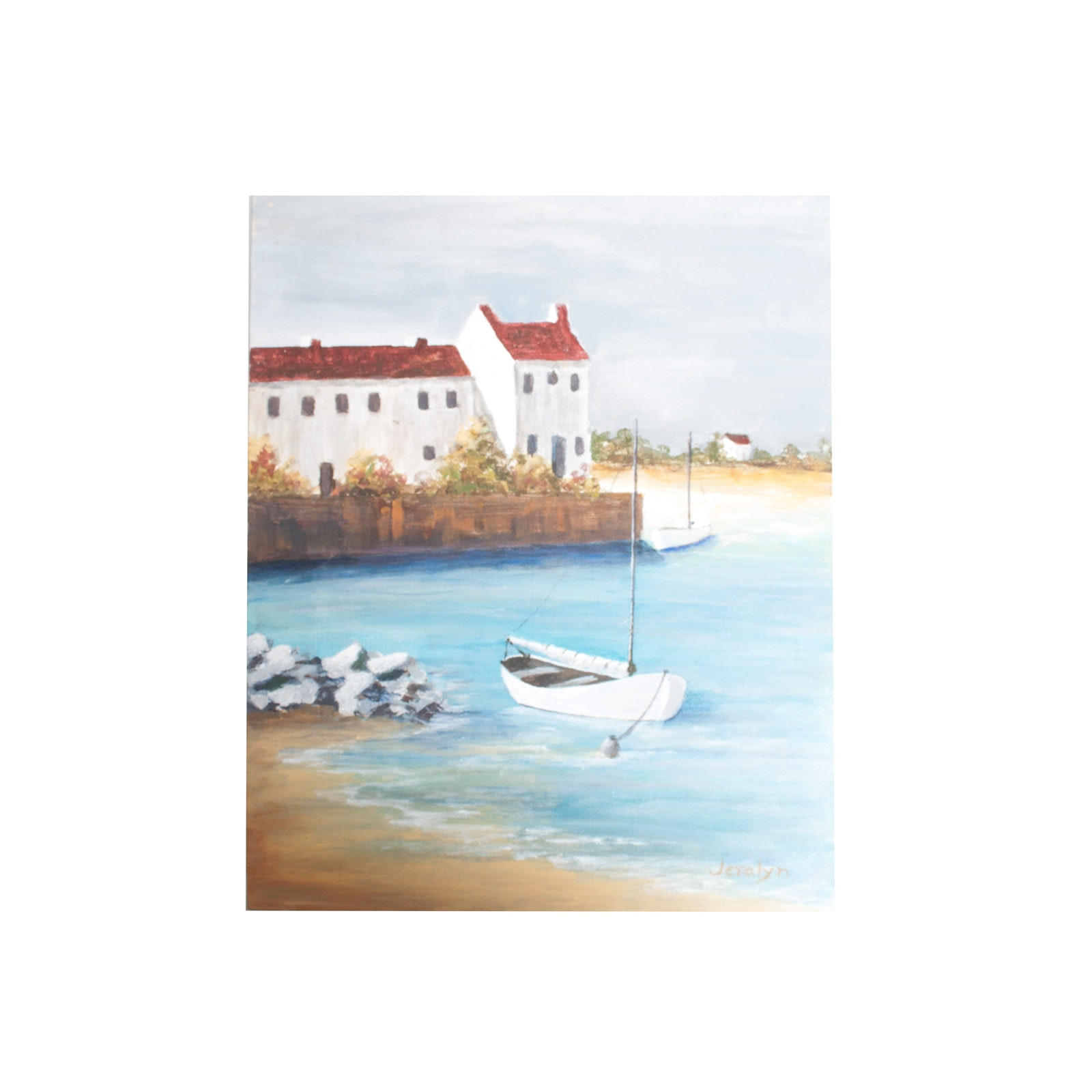 Jeralyn Original Oil Painting on Canvas of Coastal Scene