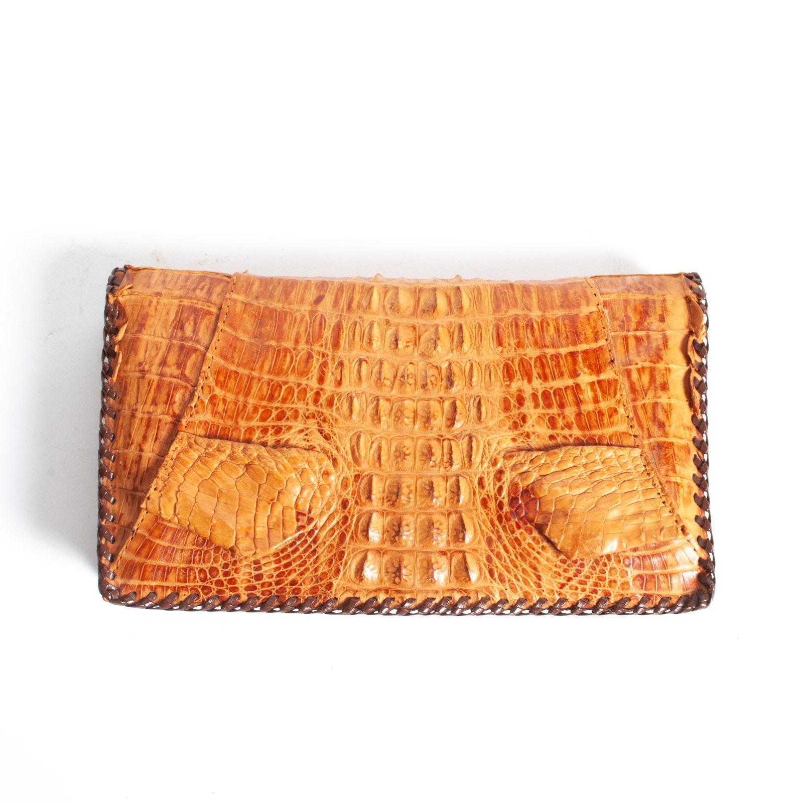 Vintage Cuban Genuine Alligator Skin Leather Clutch